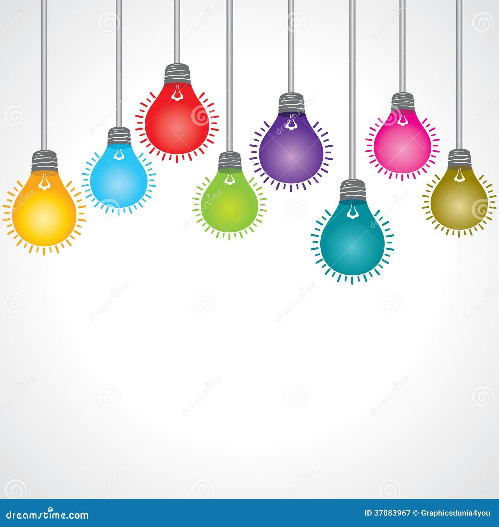 Download Kolorowy żarówki tło ilustracja wektor. Ilustracja złożonej z geniuszi - 37083967