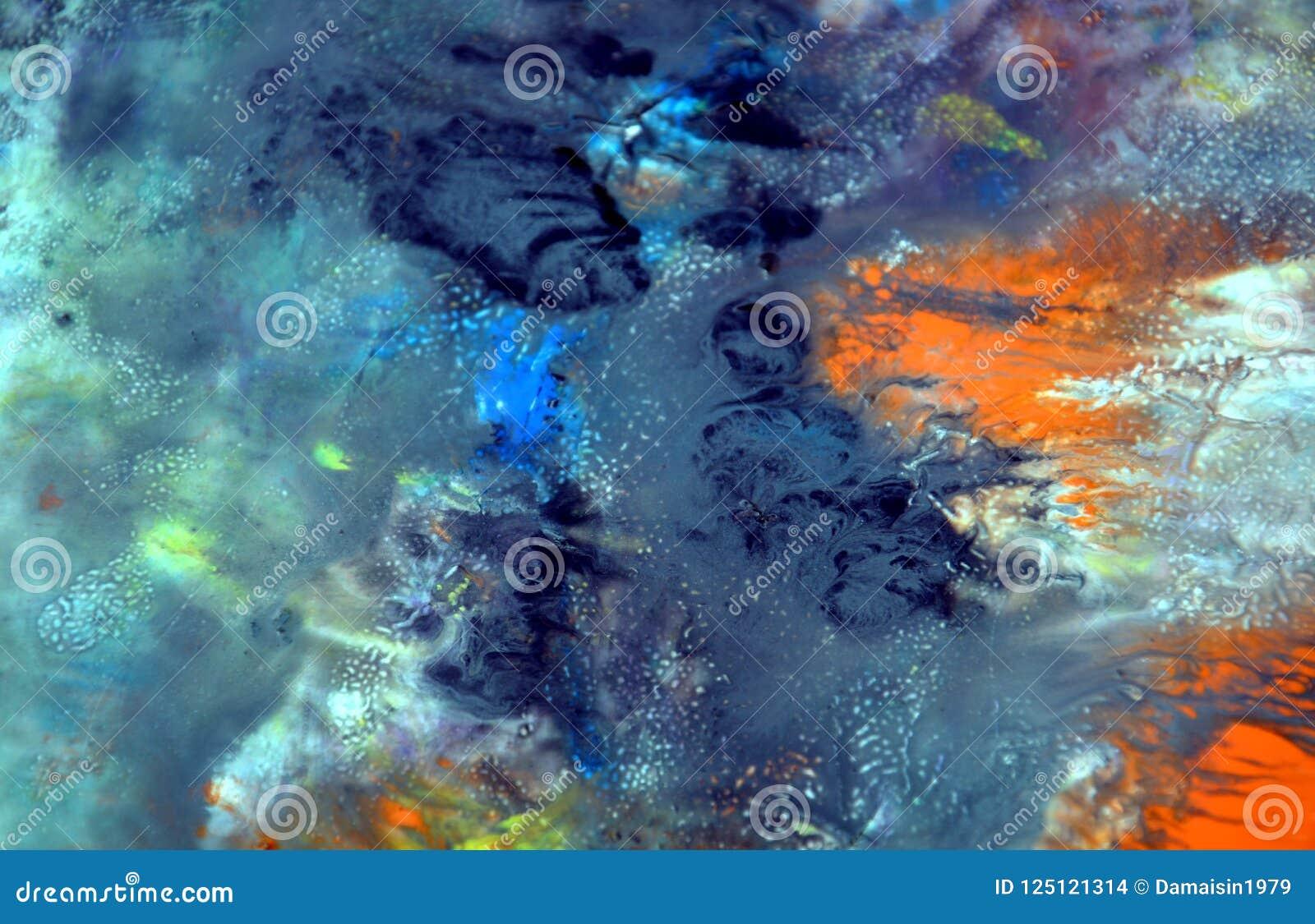 Kolorowy żywy błękitny dymiący tło, malujący akwareli tło, maluje abstrakcjonistycznych kolory