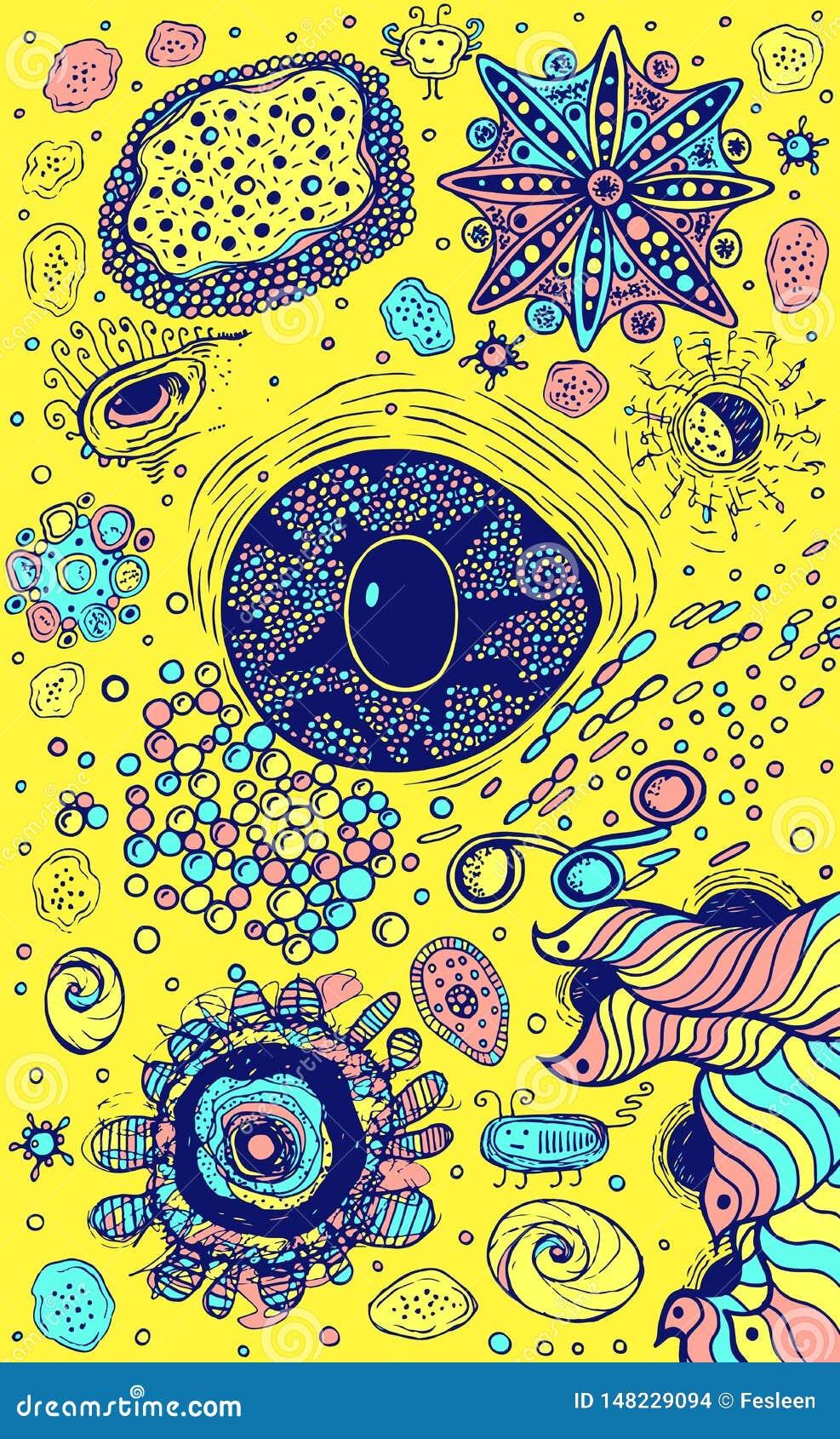 Kolorowy abstrakcjonistyczny tło z okiem i psychodelicznymi elementami Pastelowi kolory i żółty tło obcy kresk?wki kota ucieczek