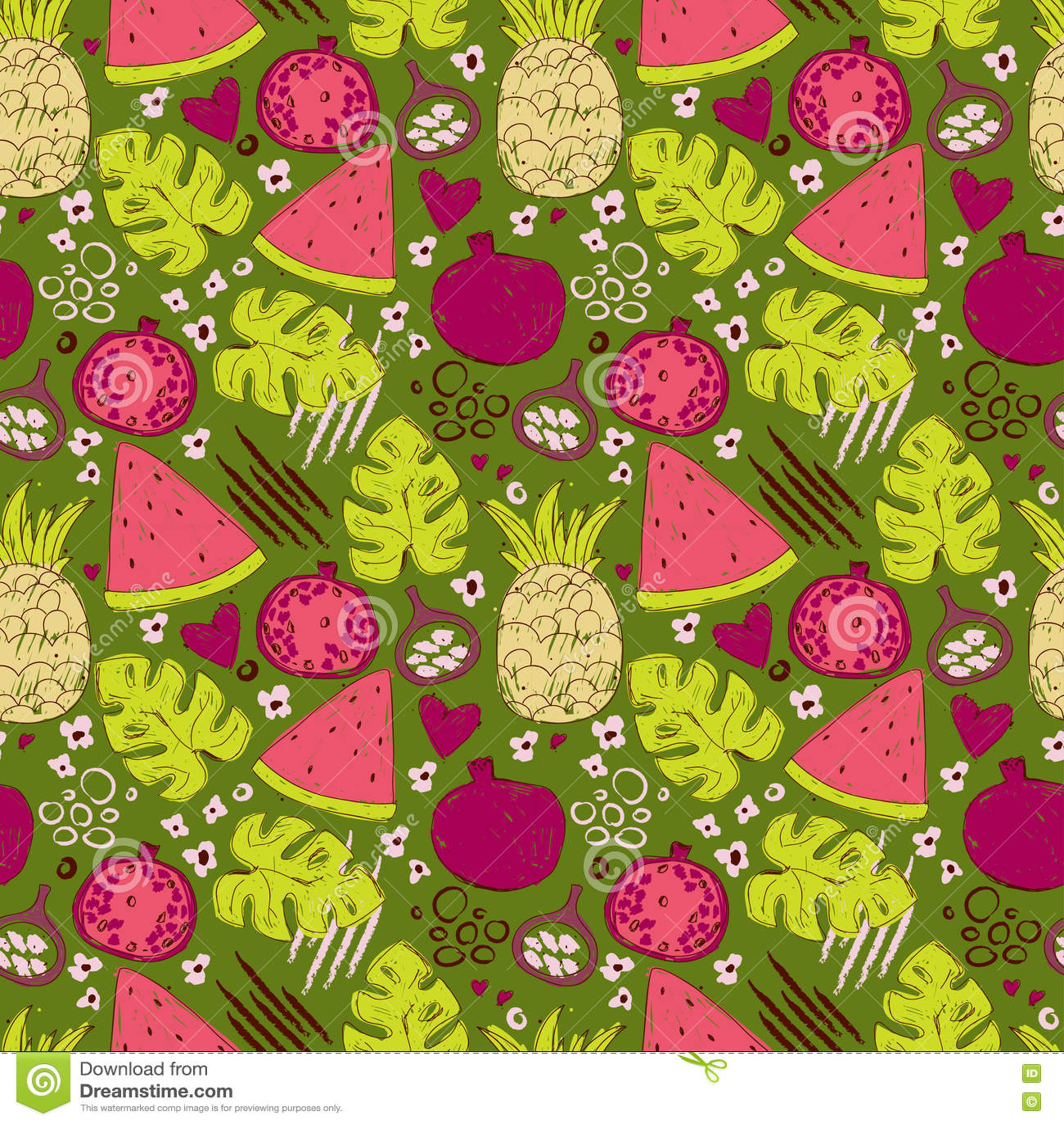 Kolorowy bezszwowy wzór z ręki rysować egzotycznymi owoc