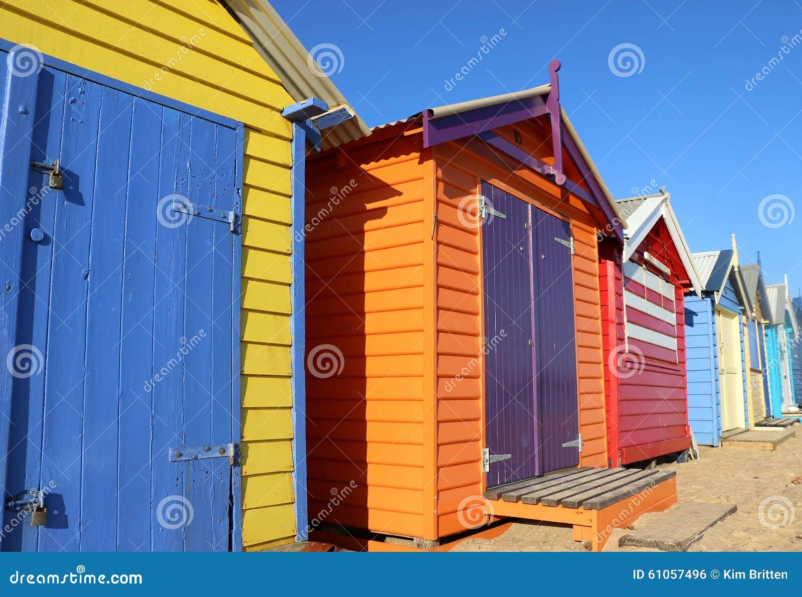Kolorowy Brighton kąpanie boksuje w Melbourne, Australia