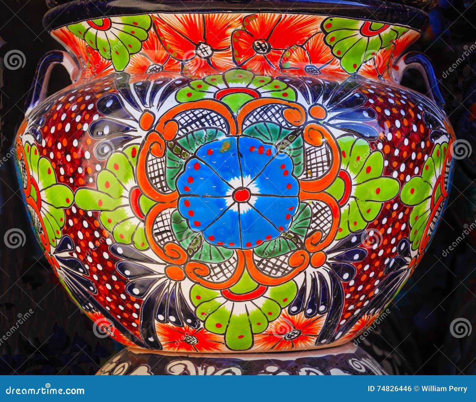 Kolorowy Ceramiczny Błękitny Pomarańczowy kwiatu garnka Dolores hidalgo Meksyk