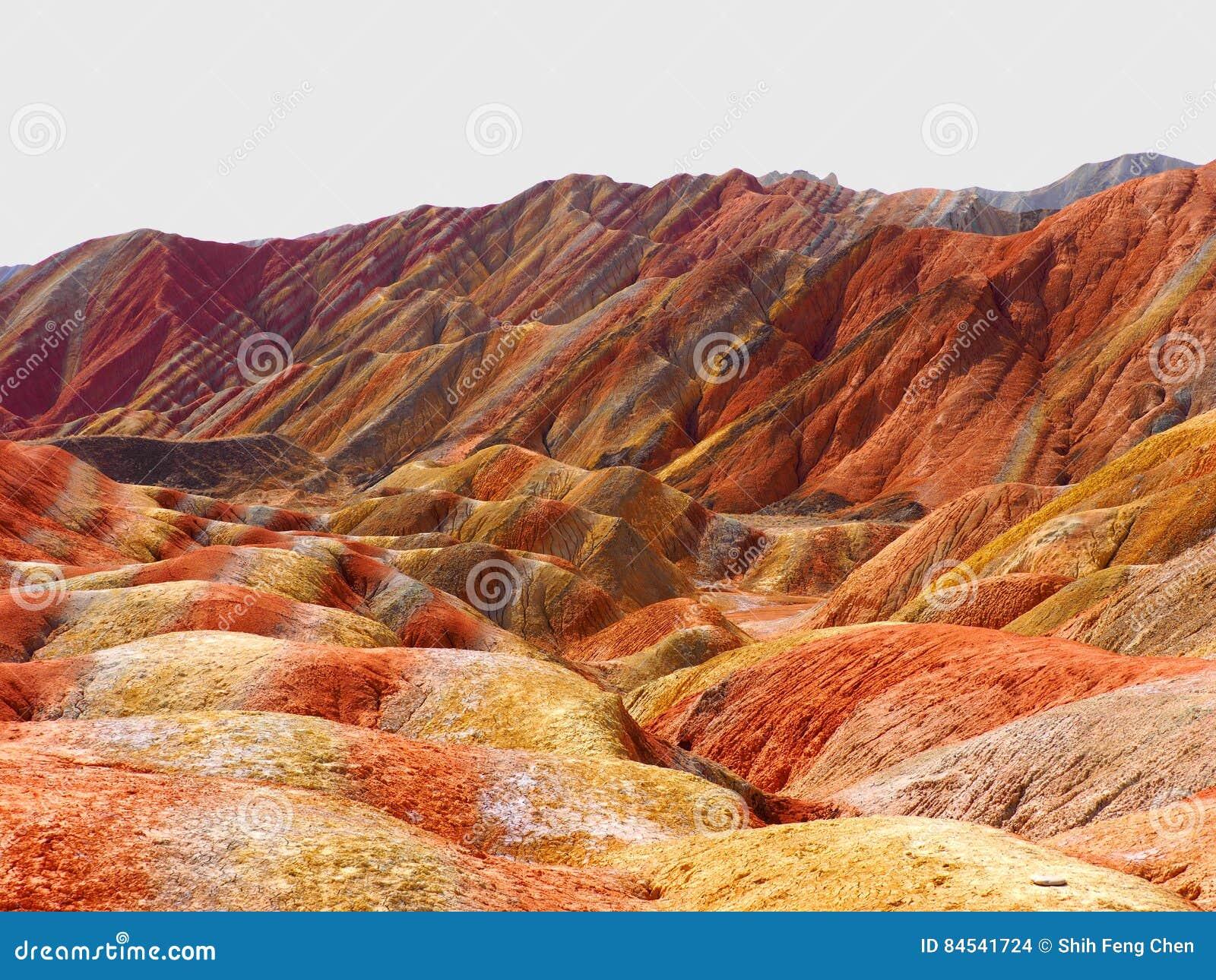 Kolorowy Danxia terenoznawstwo przy Zhangye, Gansu, Chiny