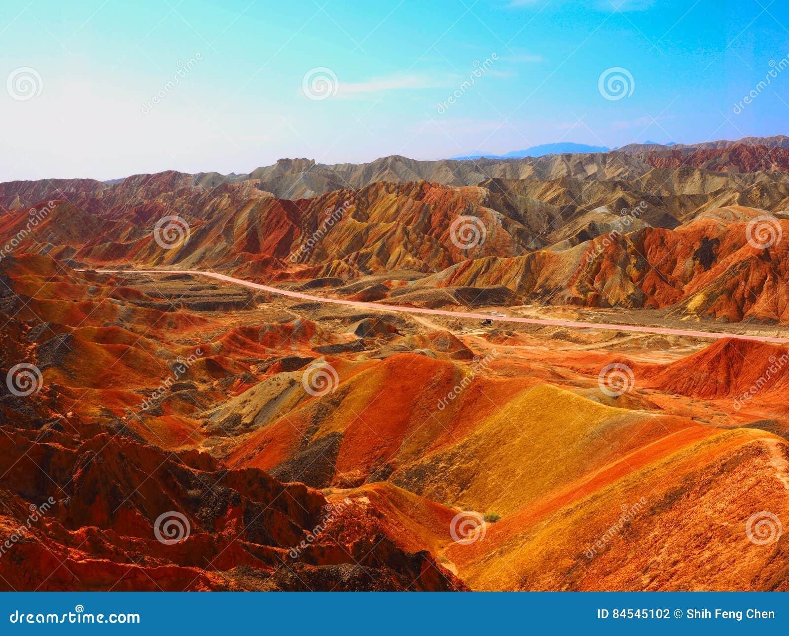 Kolorowy Danxia terenoznawstwo, Zhangye, Gansu, Chiny