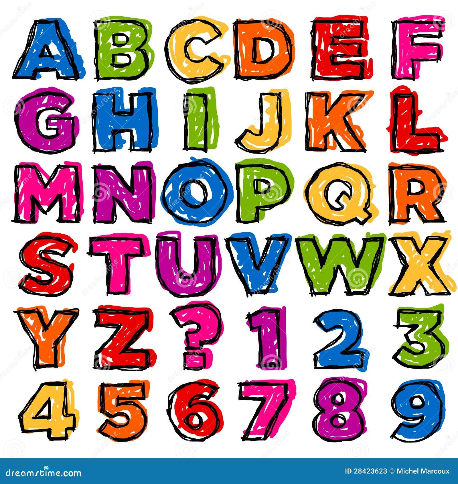 Kolorowy Doodle abecadło, liczby i