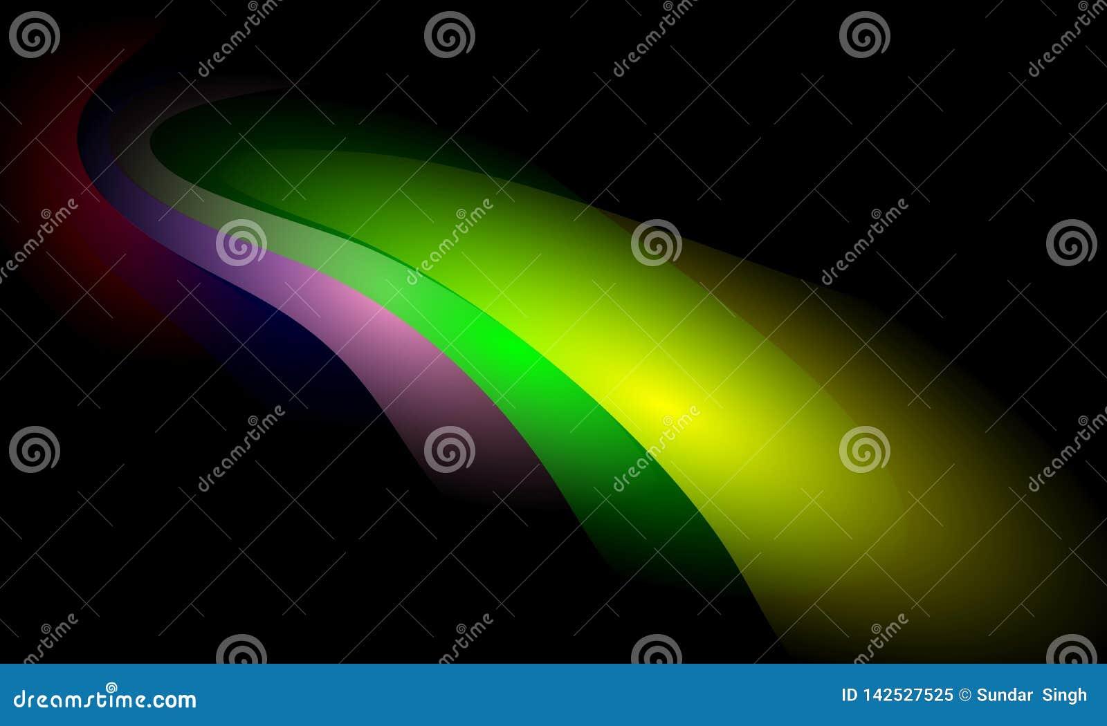 Kolorowy falowy abstrakcjonistyczny t?o z o?wietleniowym skutkiem, g?adka, koszowa, wektorowa ilustracja,