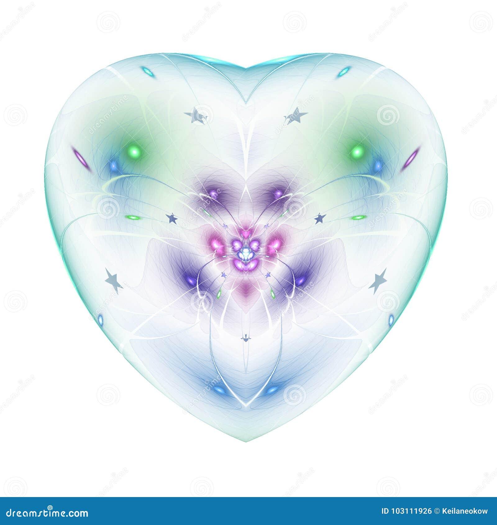 Kolorowy fractal kwiat w odosobnionym sercu