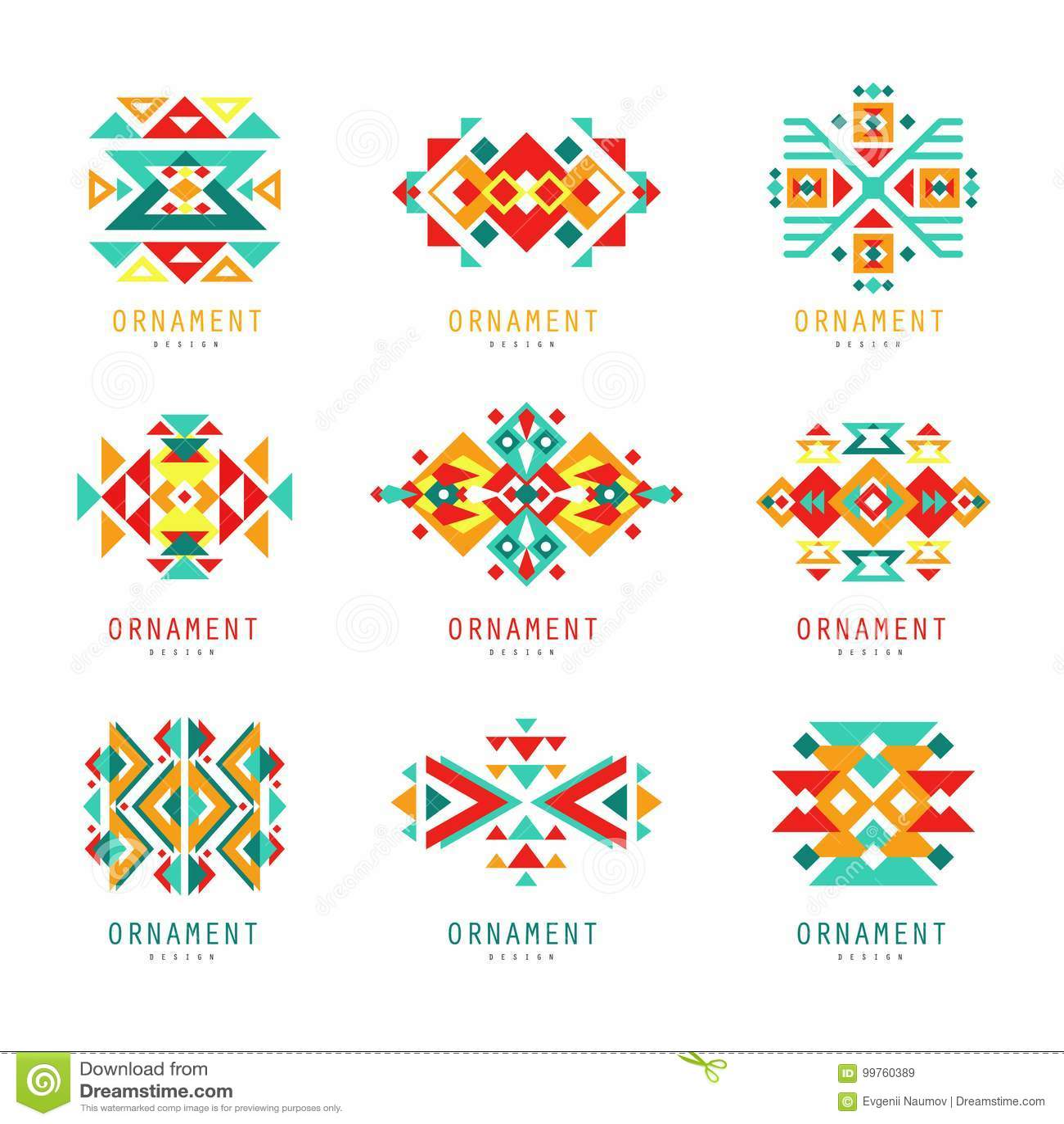 Kolorowy geometryczny ornamentu set, abstrakcjonistyczne logów elementów wektoru ilustracje