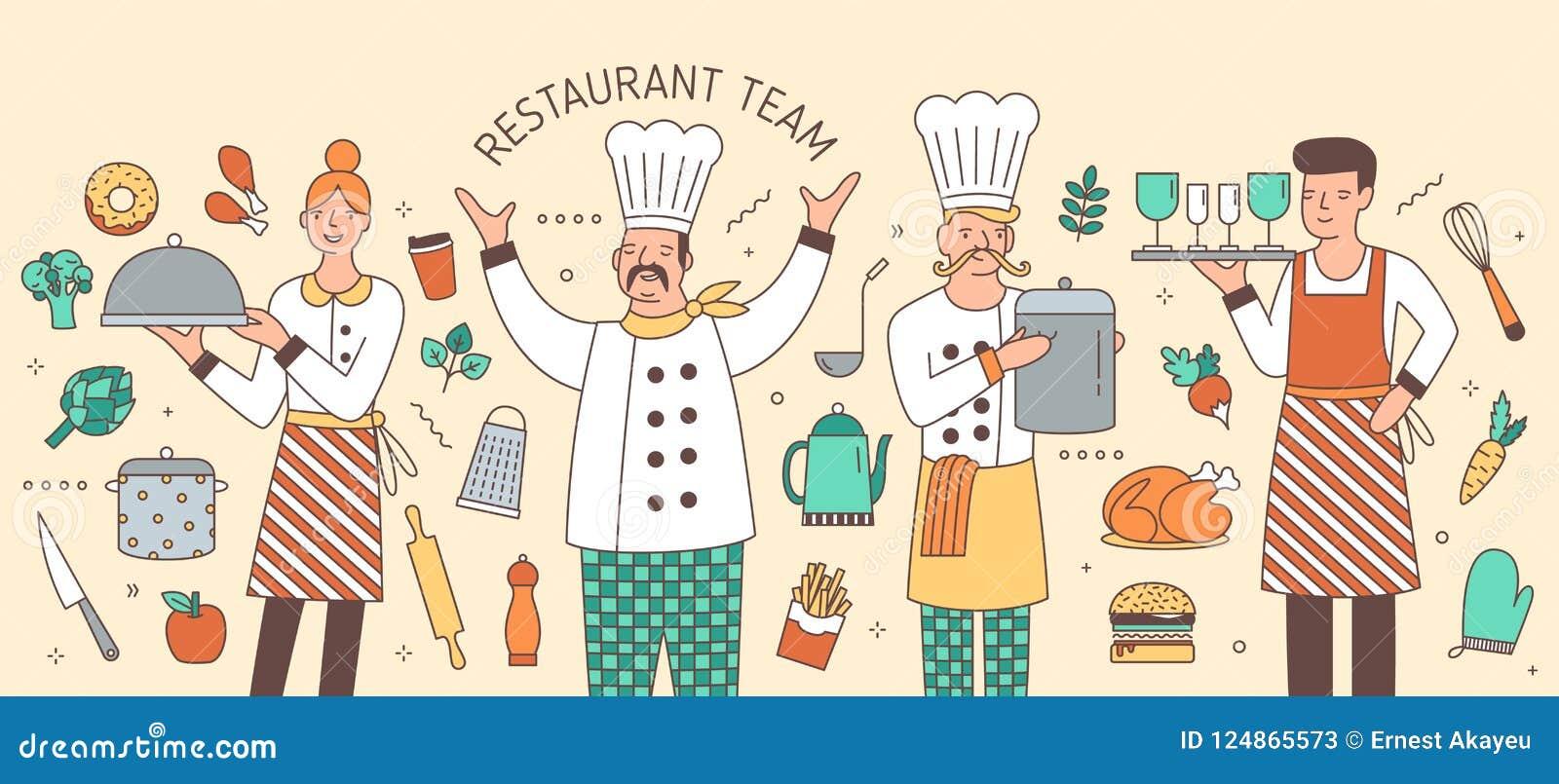Kolorowy horyzontalny sztandar z szefem, kucharzem, kelnerem i kelnerką otaczającymi, artykułami żywnościowy i kuchni naczyniami