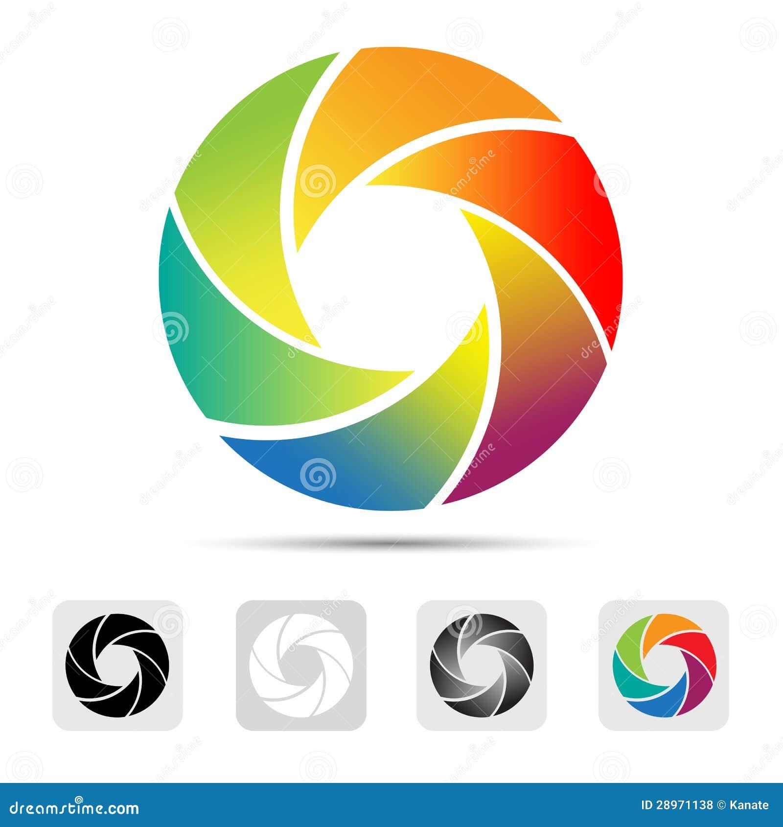 Kolorowy kamery żaluzi logo, ilustracja.
