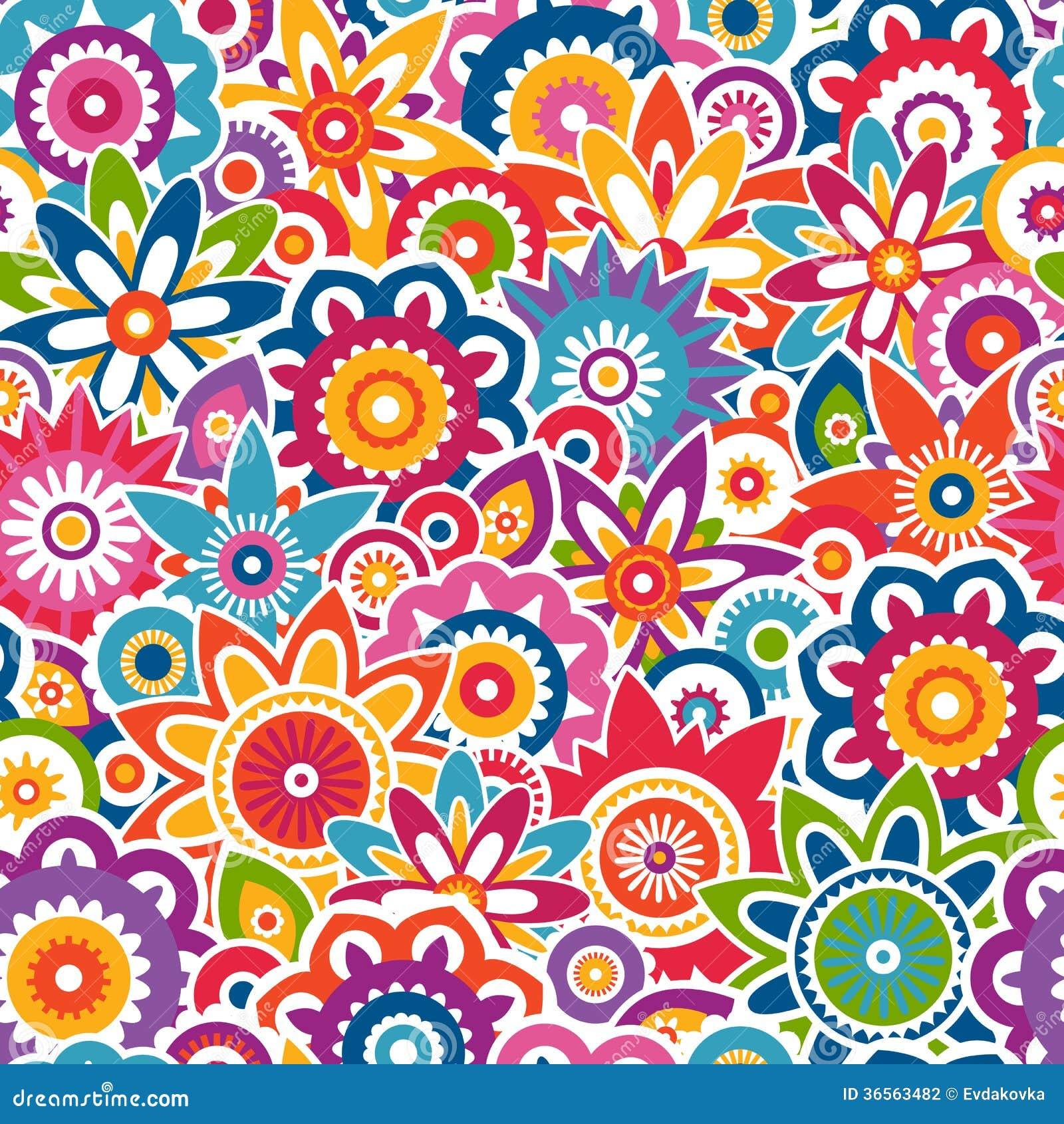 Kolorowy kwiecisty wzór. Bezszwowy tło.