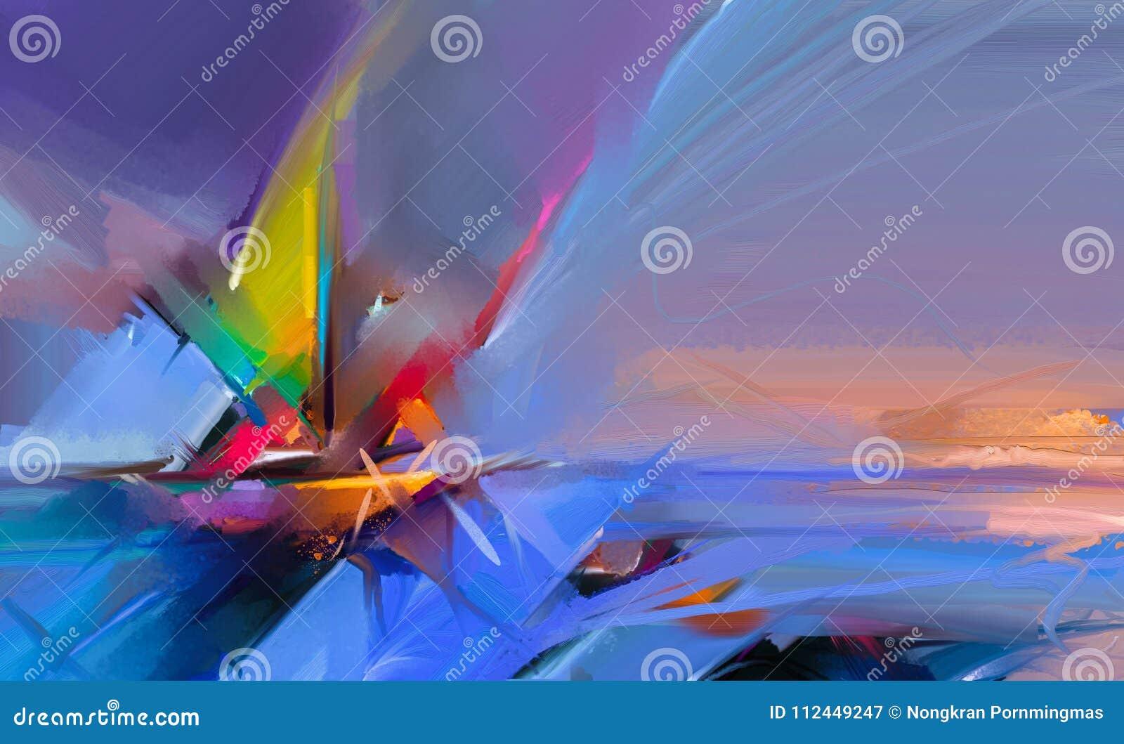 Kolorowy obraz olejny na brezentowej teksturze Semi- abstrakcjonistyczny wizerunek seascape obrazy z światła słonecznego tłem