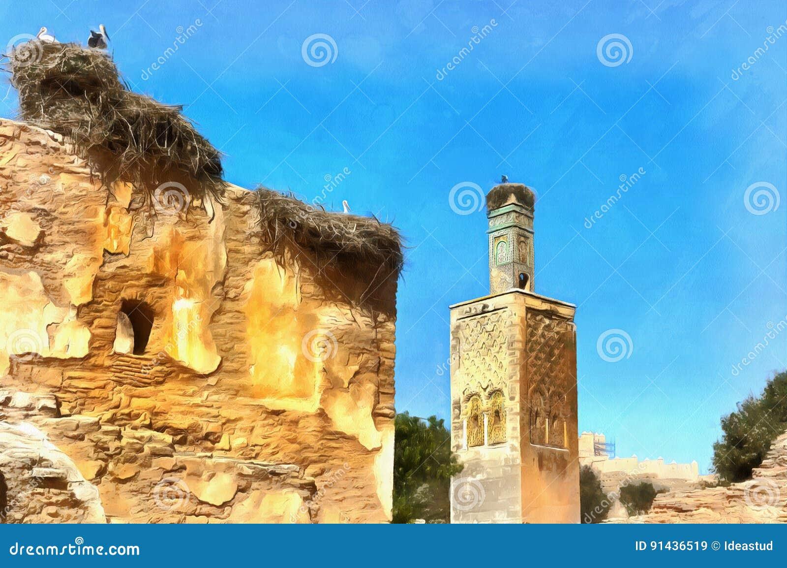 Kolorowy obraz rzymianin ruiny i Marinid Necropolis