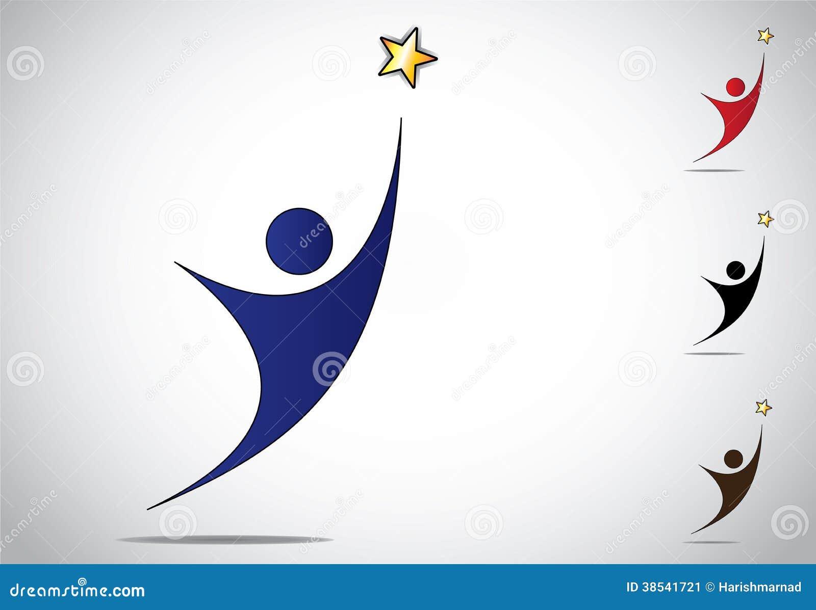 Kolorowy osoby wygranie lub osiągnięcie sukcesu symbolu ikona