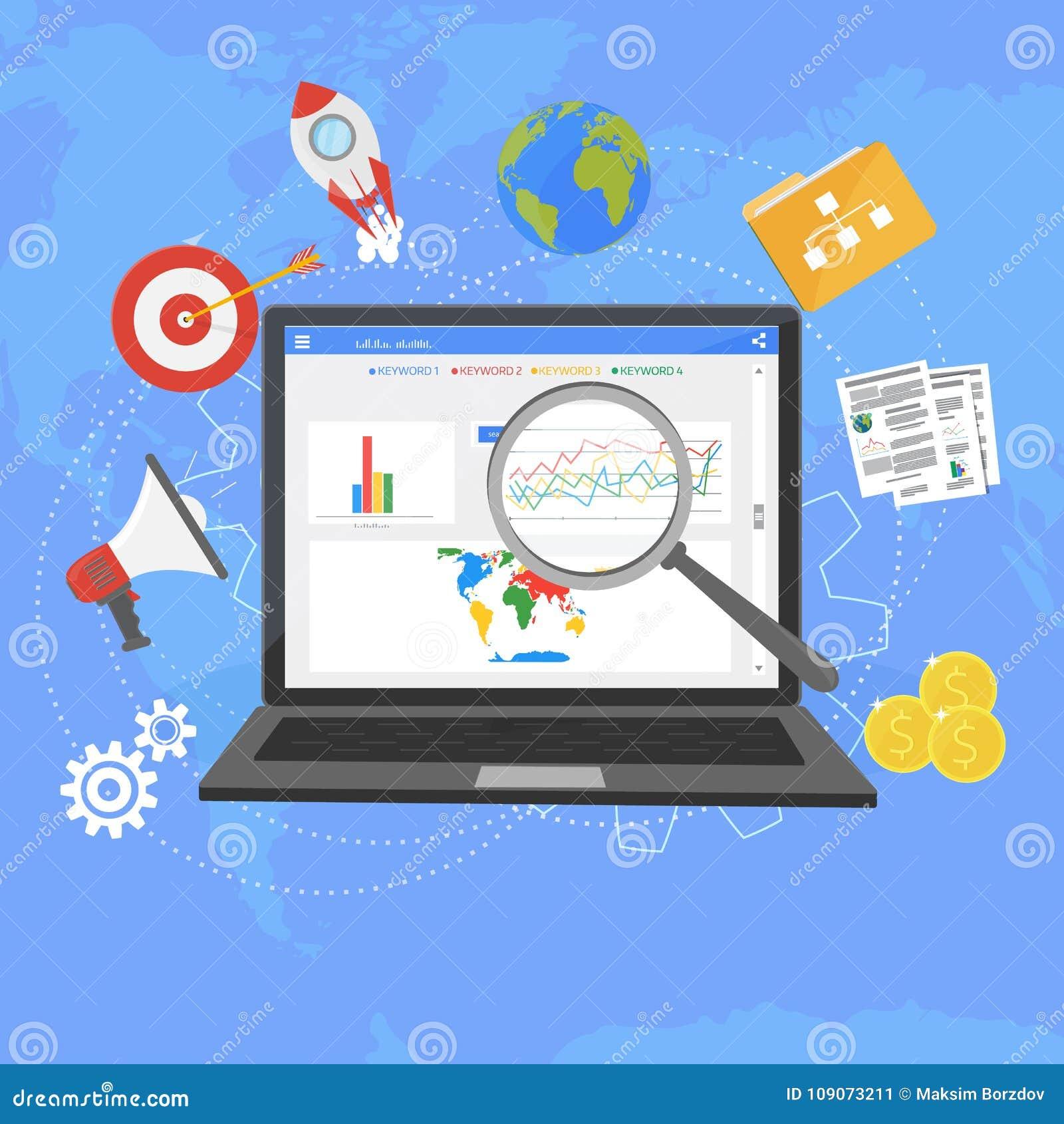 Kolorowy płaski ilustracyjny sieci analityka projekt, SEO optimizati