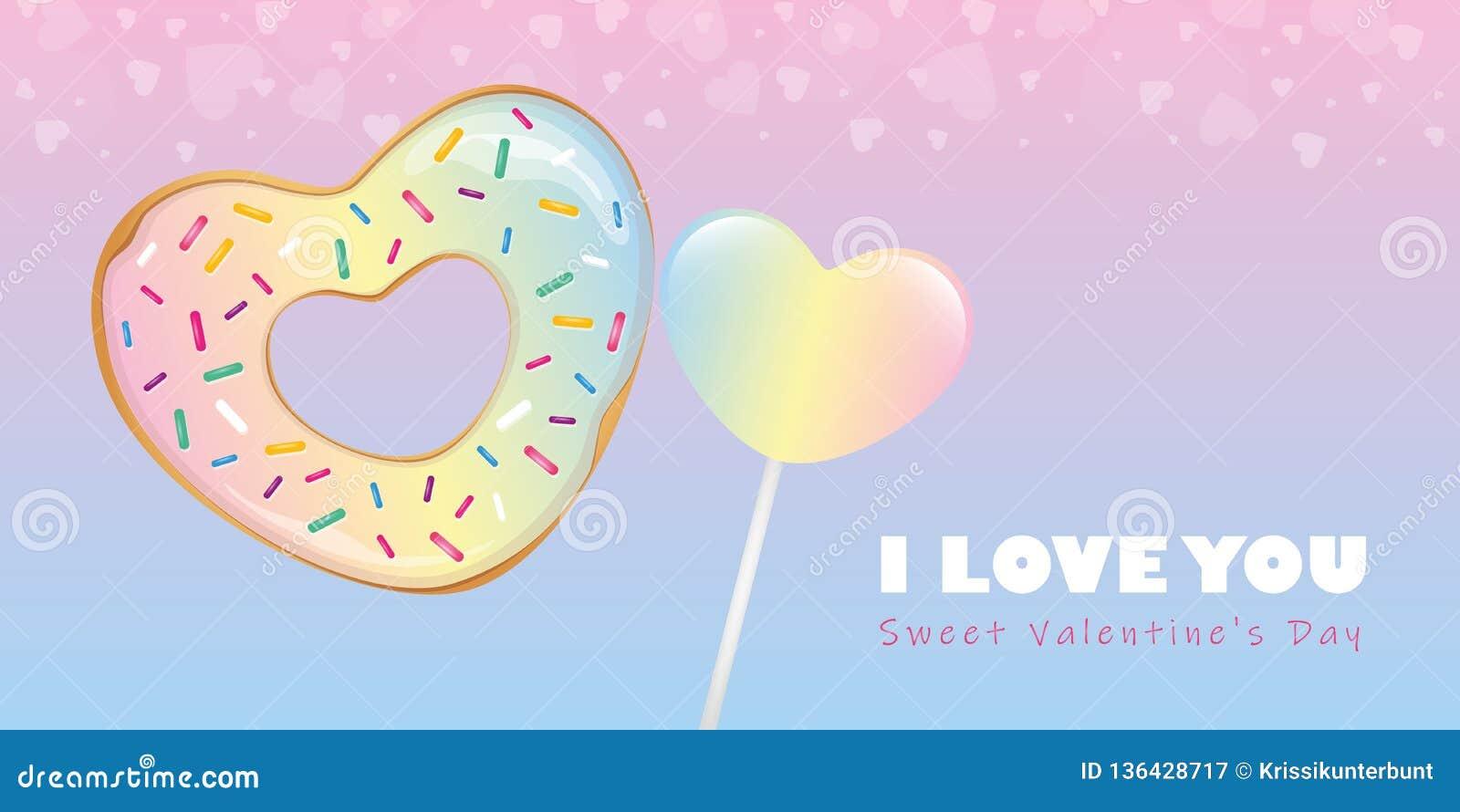 Kolorowy słodki valentines dnia cukierku serce kształtował pączek i lizaka