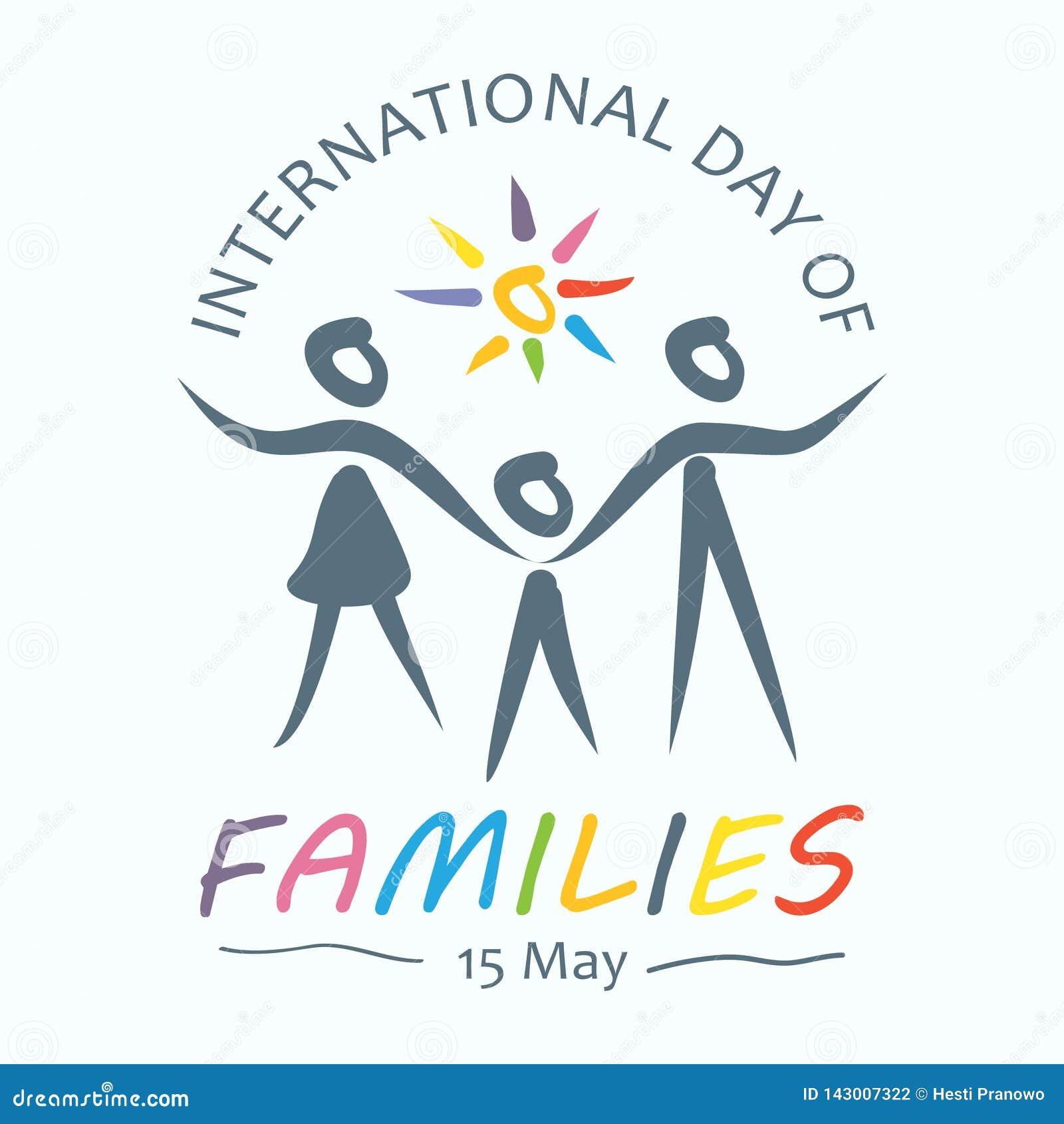 Kolorowy słowo międzynarodowy dzień rodziny z rodzinnymi mienie rękami