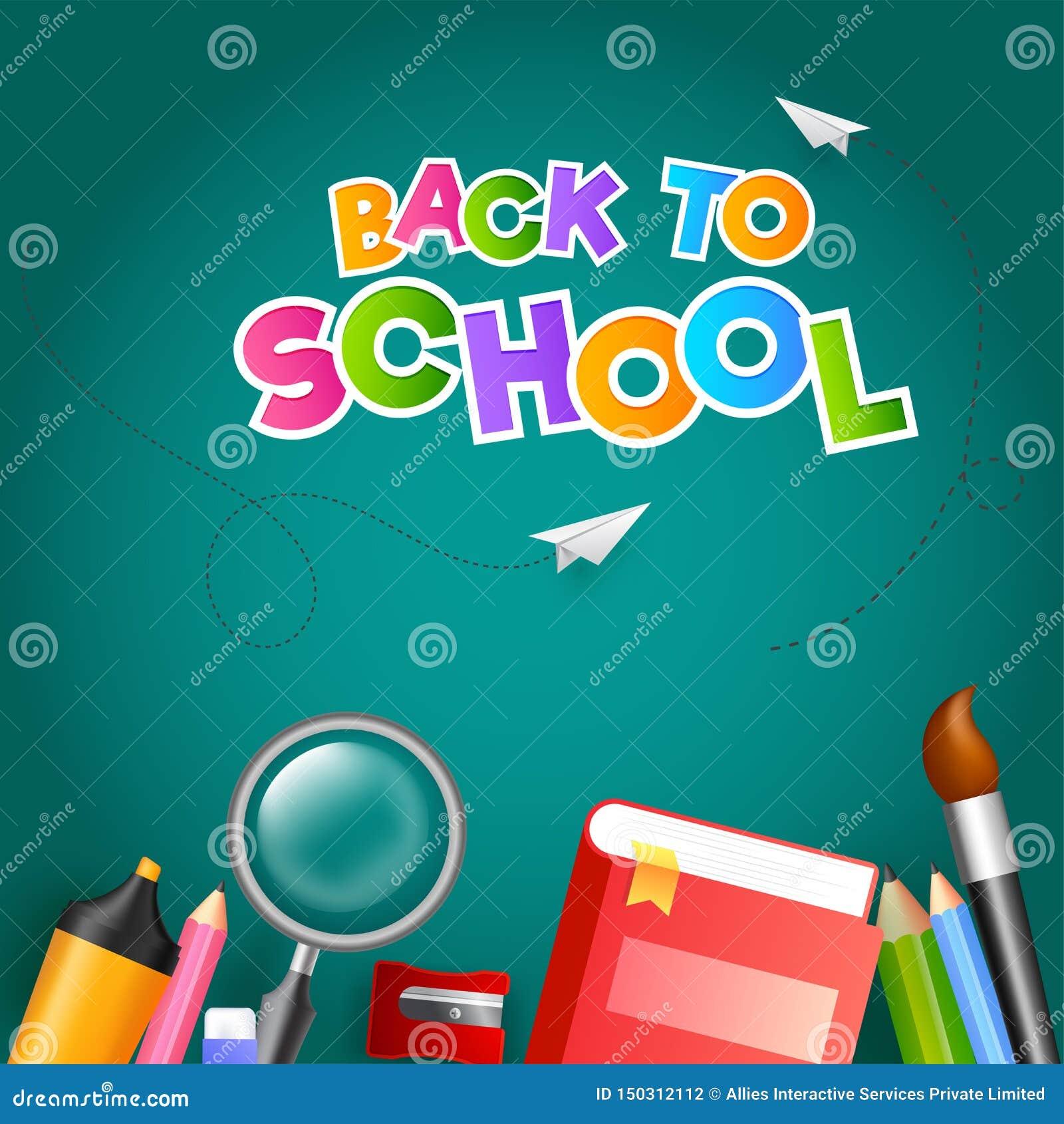 Kolorowy tekst Z powrotem szkoła z papieru samolotem i edukacji dostaw element tak jak książka, powiększa - szkło, barwił ołówek