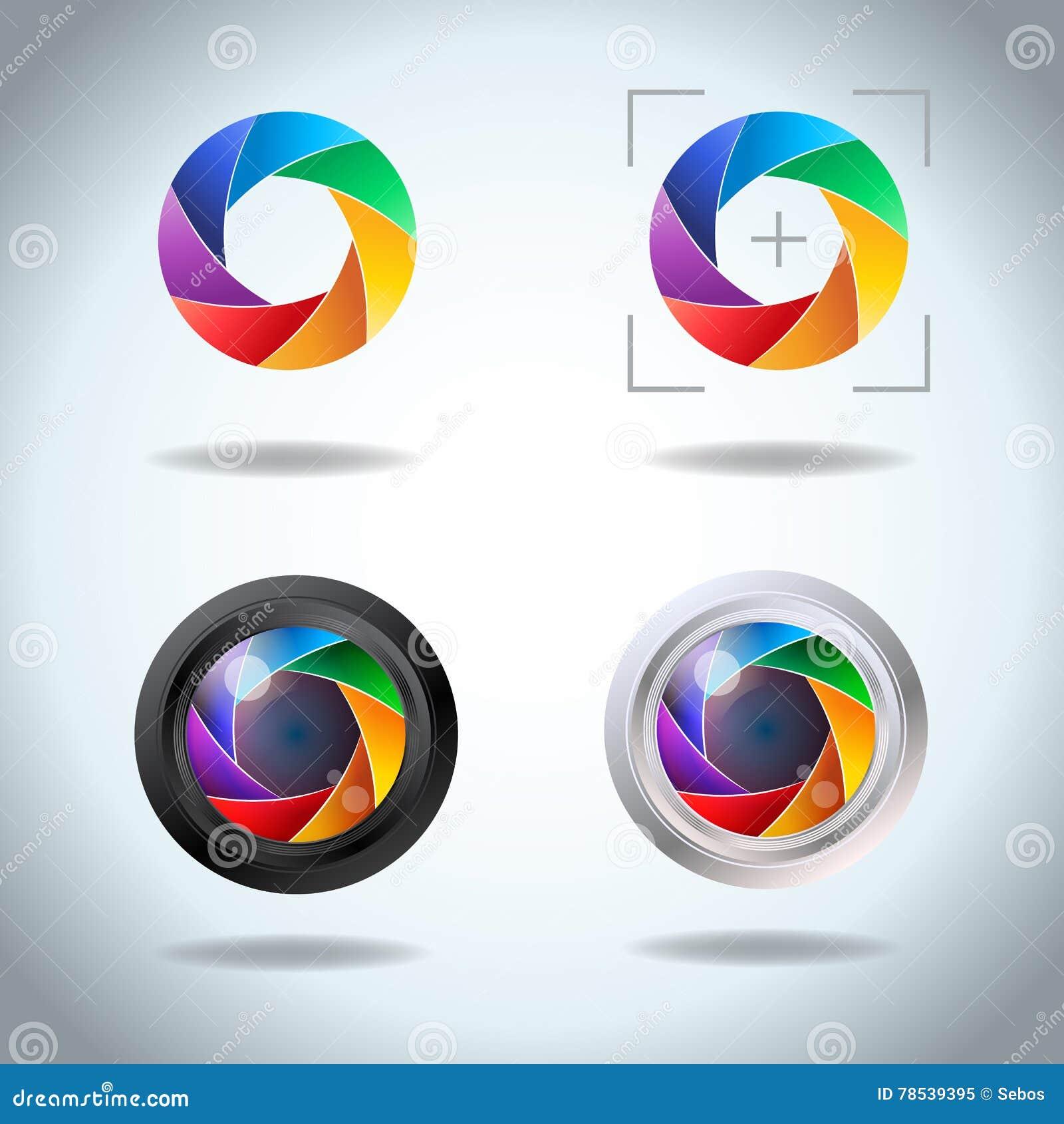 Kolorowy wektorowy ustawiający obiektyw apertura Blenda fotografii kamery żaluzi widma ikony set Strony apertury odsłonięci ostrz