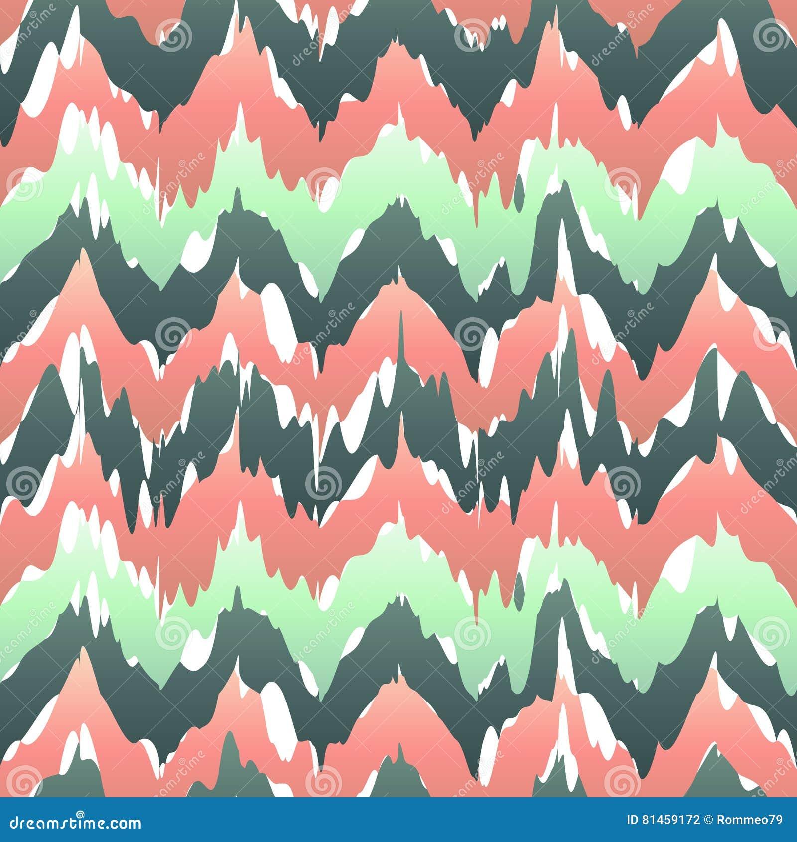 Kolorowy zygzakowaty geometryczny bezszwowy wzór w menchiach i zieleni, wektorowy ikat wzór