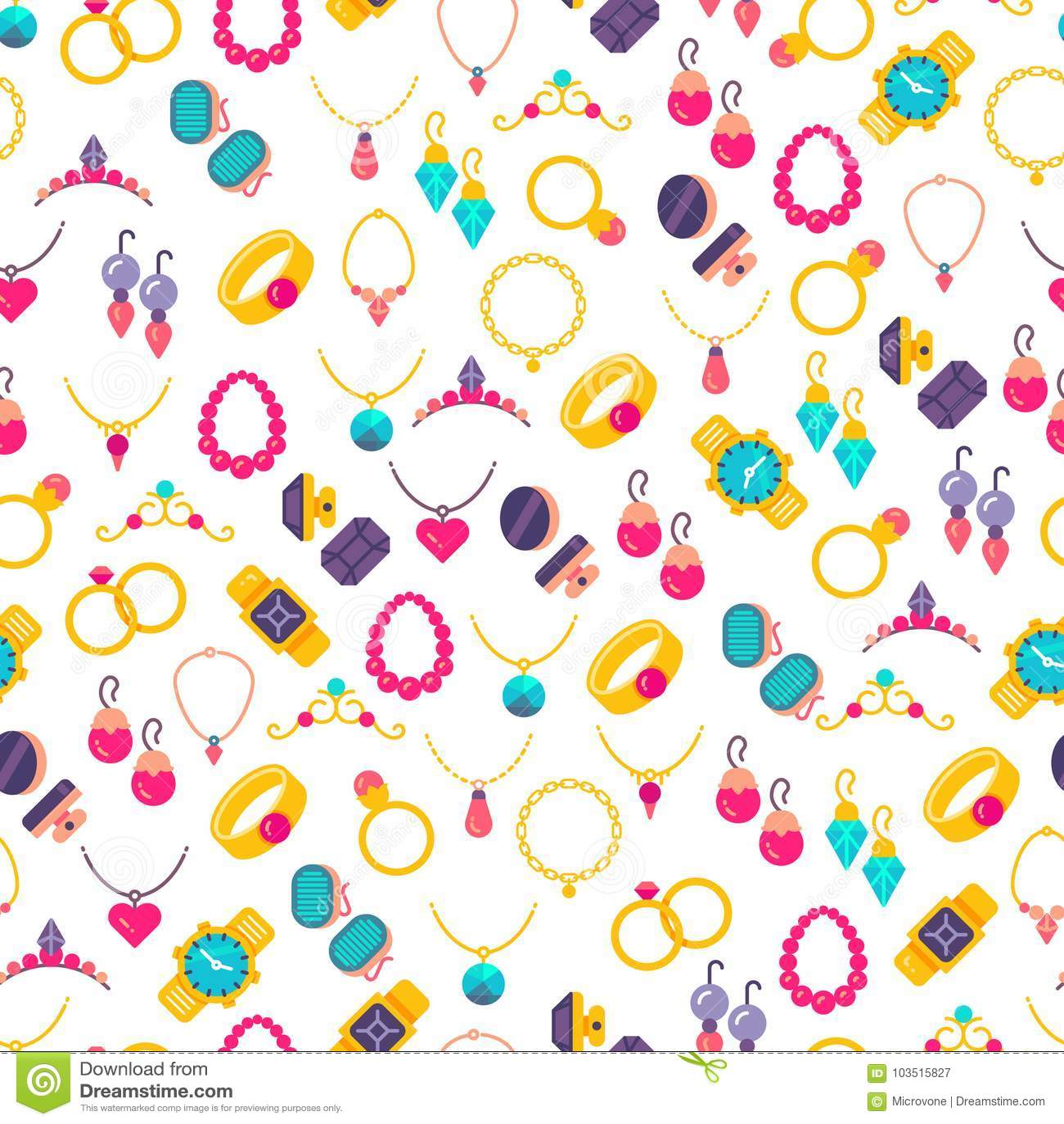 Kolorowych biżuterii ikon bezszwowy wzór