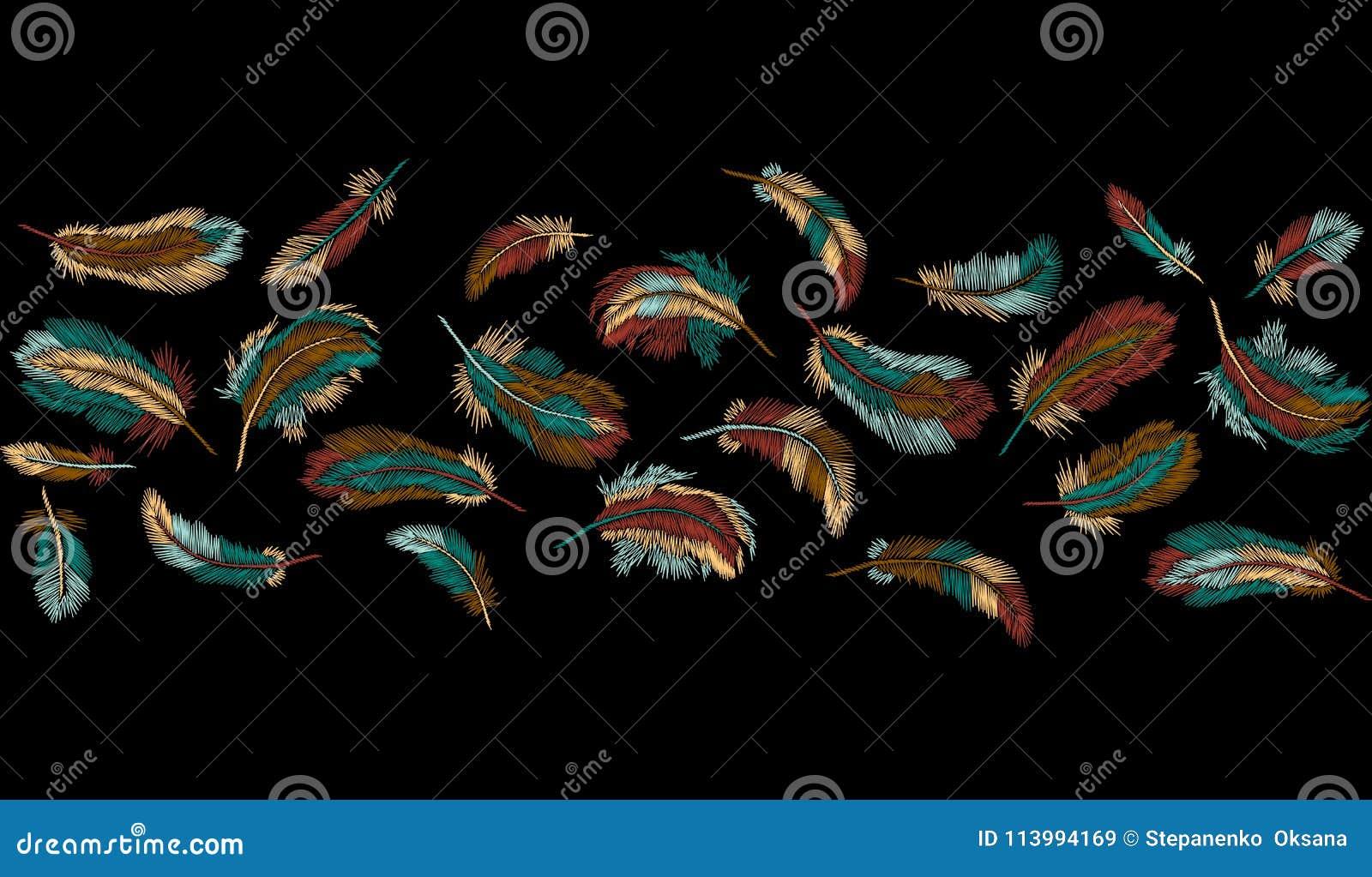 Kolorowych piórek hafciarski bezszwowy rabatowy lampas Boho plemienny odzieżowy indyjski ptasi klasyk haftował tło