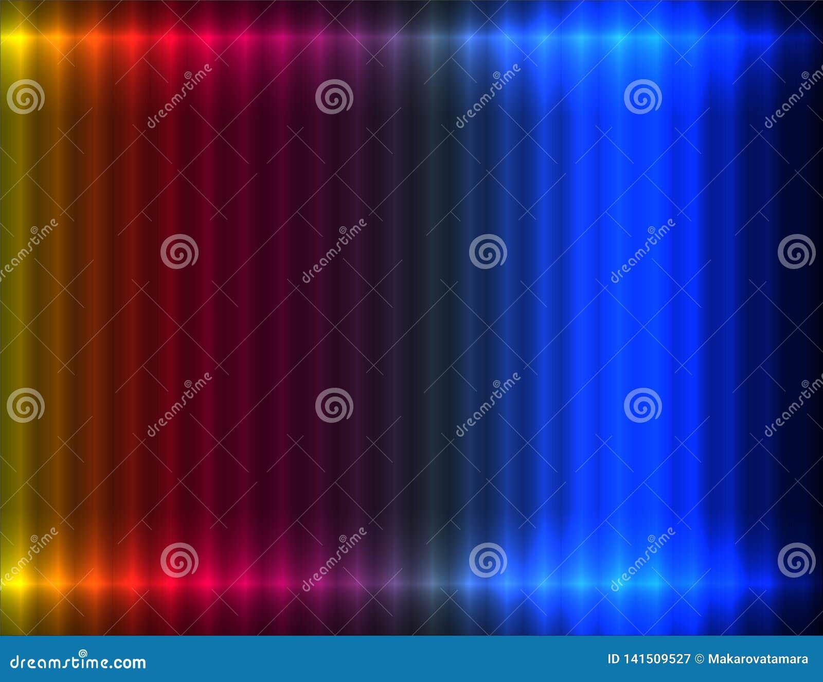 Koloru żółtego, czerwieni, purpur, błękita i marynarki wojennej liniowy żebrujący tło, neonowy skutek