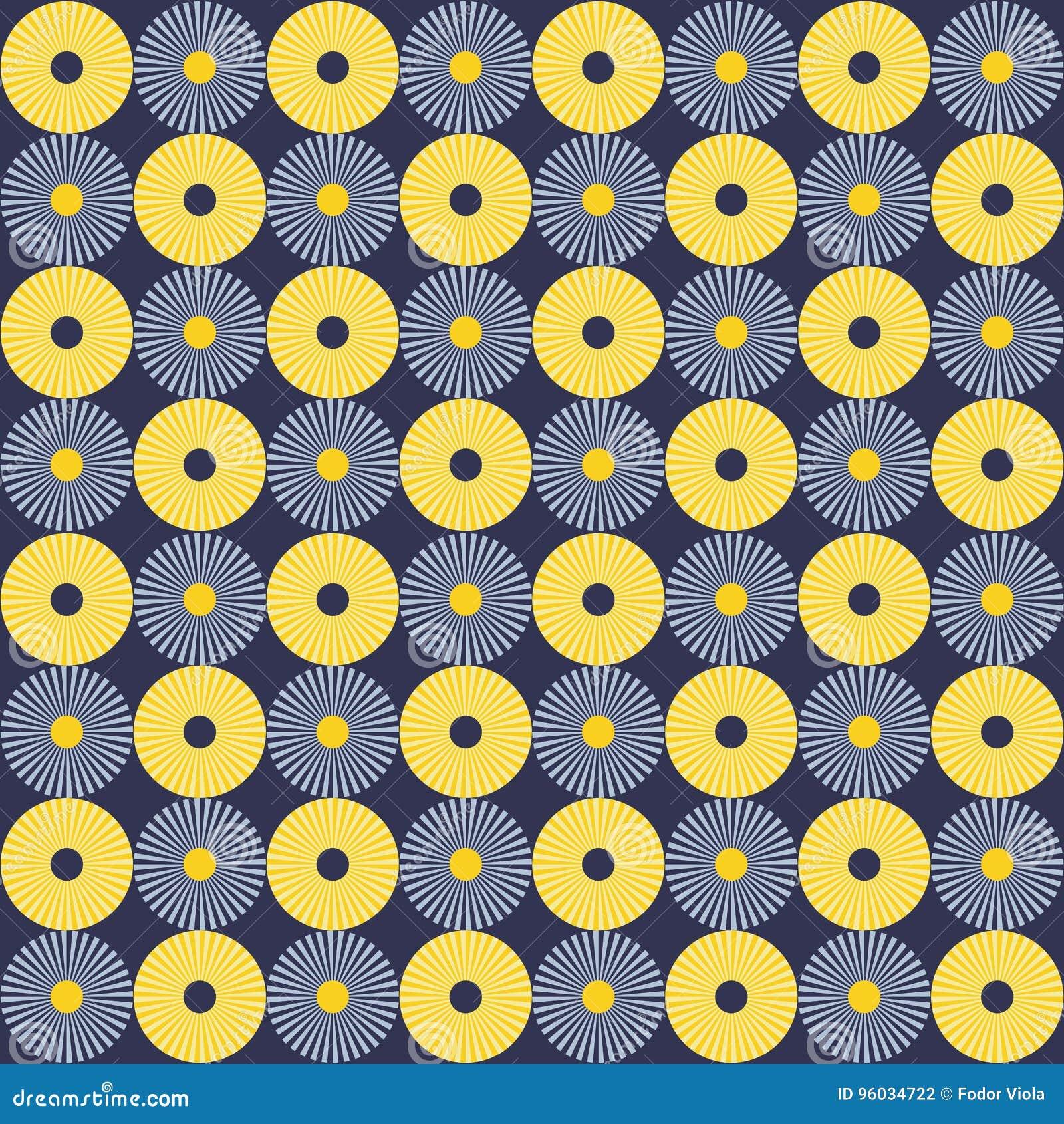 Koloru żółtego i błękita okregów wzór