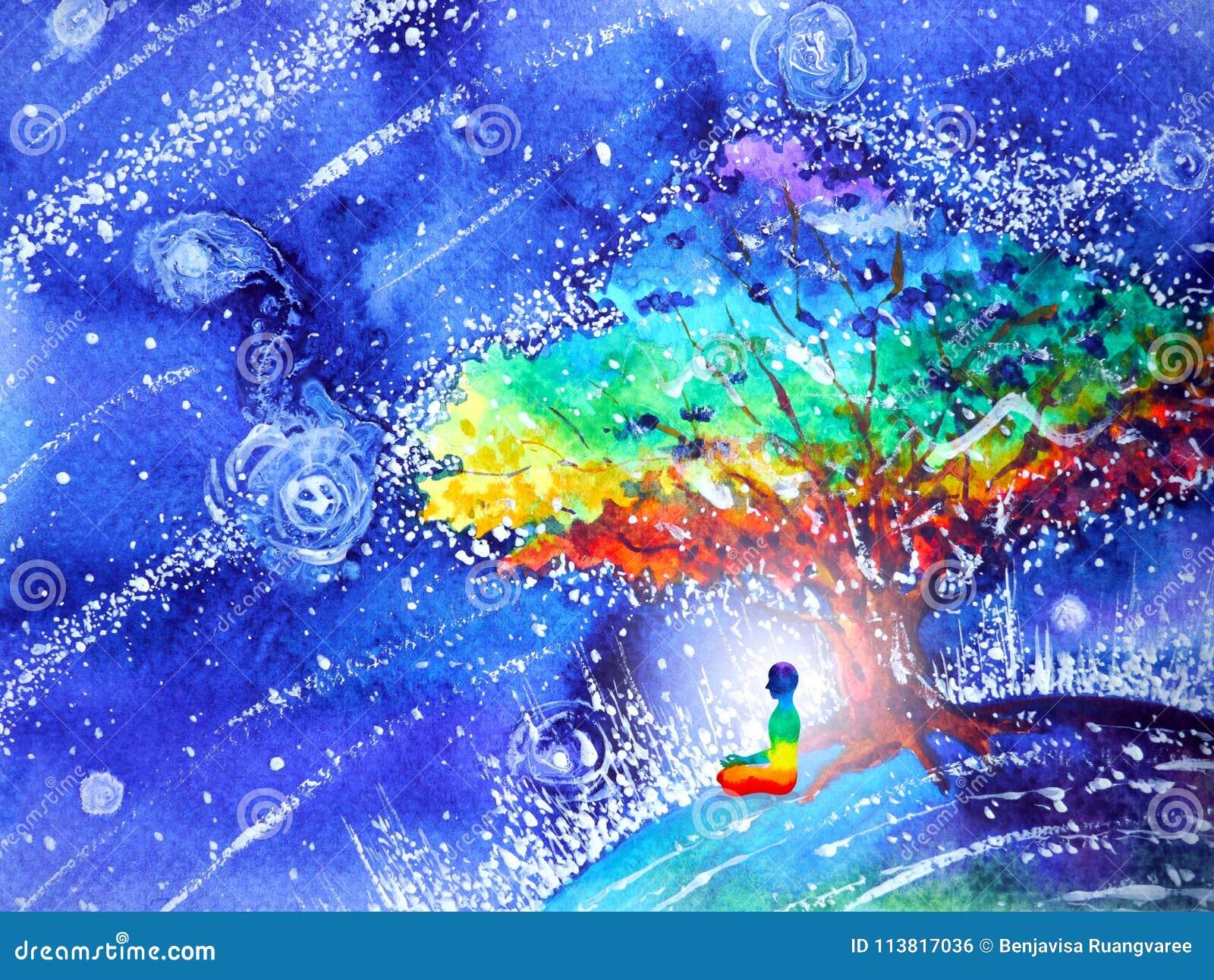 7 koloru chakra ludzkich lotosów pozują joga, abstrakcjonistyczny świat, wszechświat