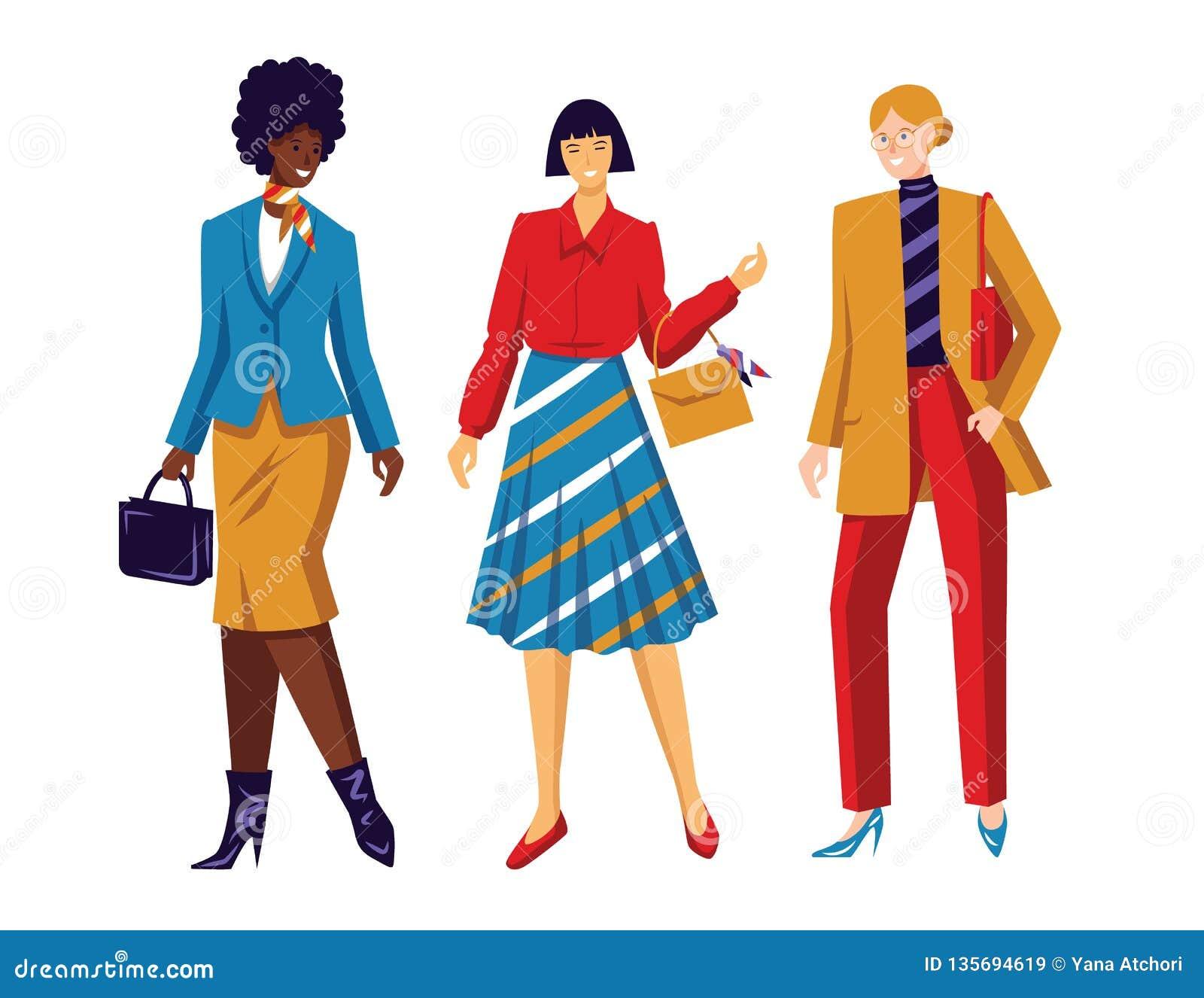 Koloru mieszkania stylu wektorowa ilustracja Kobiety drużyna Konceptualny plakat o żeńskich władzy i równego dobrach Pracujące dz