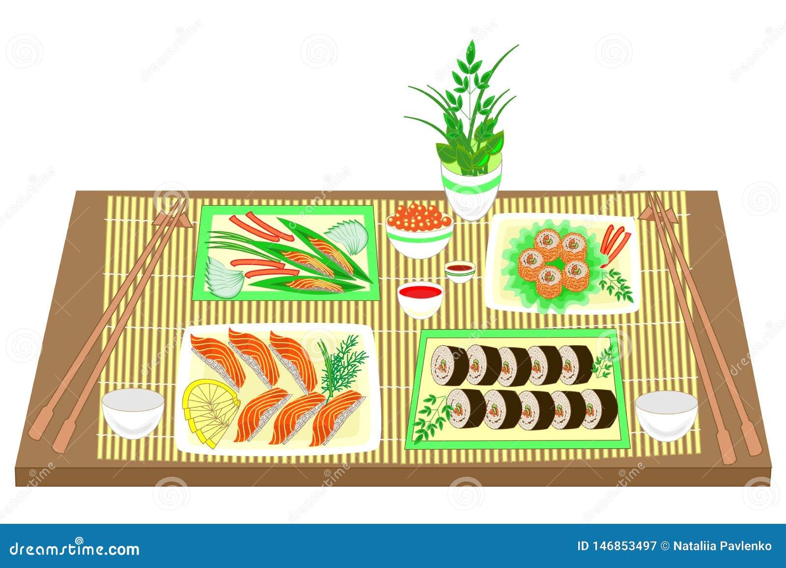Koloru obrazek Dystyngowani naczynia Japońska krajowa kuchnia Na stole dla wyśmienicie owoce morza, suszi, rolki, kawior wektor