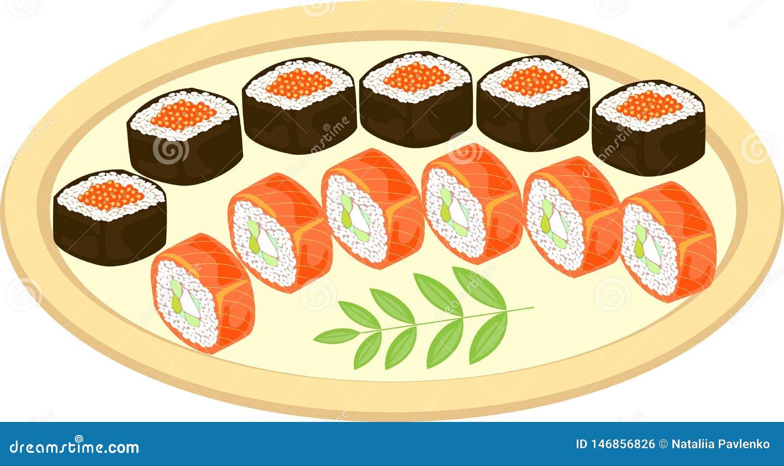 Koloru obrazek Dystyngowani naczynia Japo?ska krajowa kuchnia Na pięknie słuzyć naczyniu jest owoce morza, suszi, rolki, kawior,