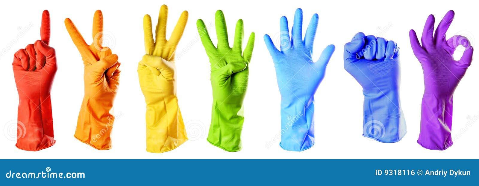 Koloru rękawiczek raibow guma