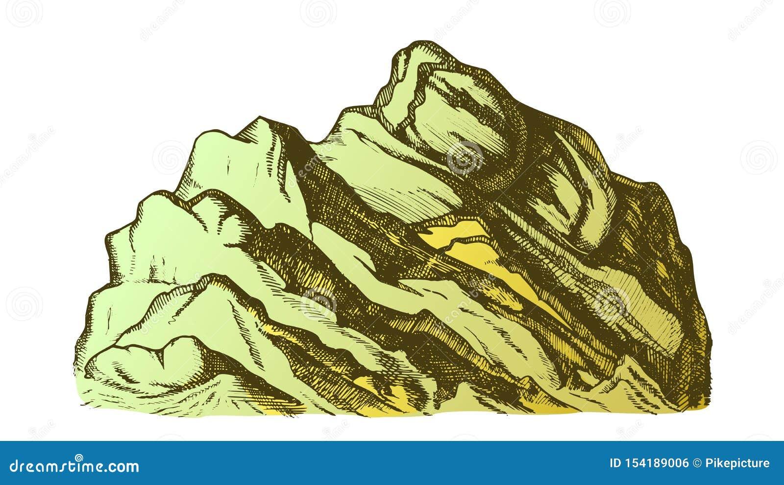 Koloru szczyt góra krajobrazu ręka Rysujący wektor