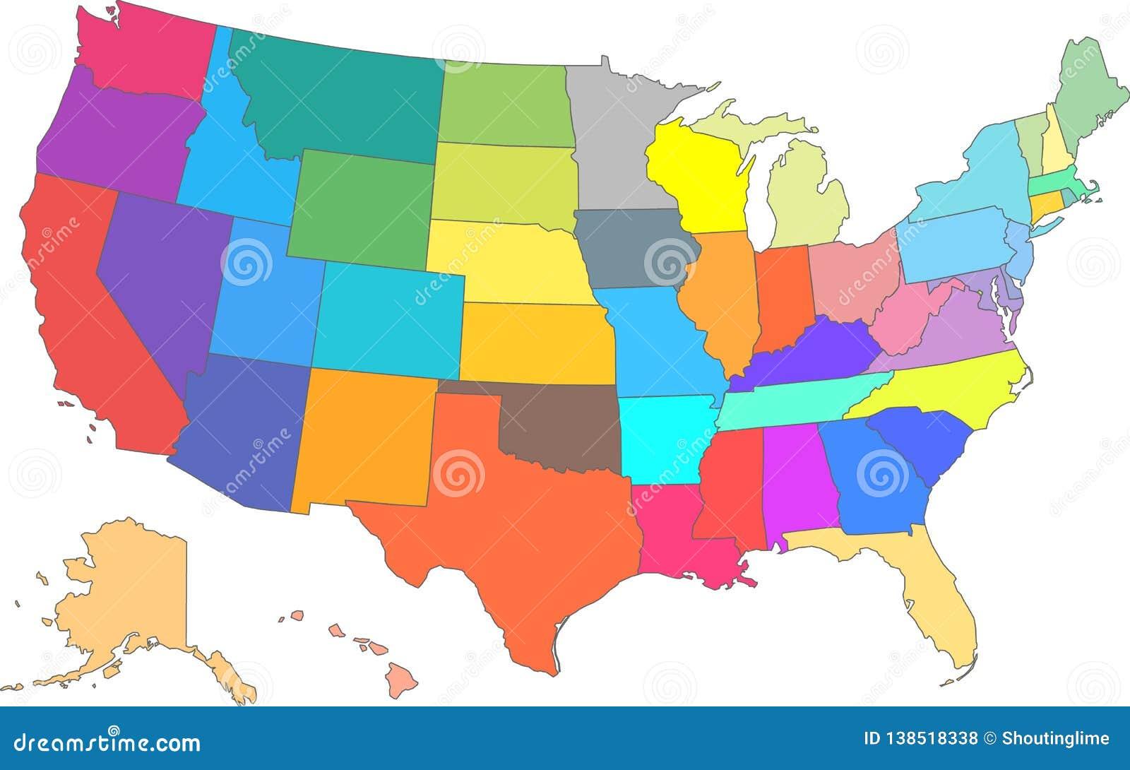 Koloru usa Wektorowa mapa z Wszystkie stanami