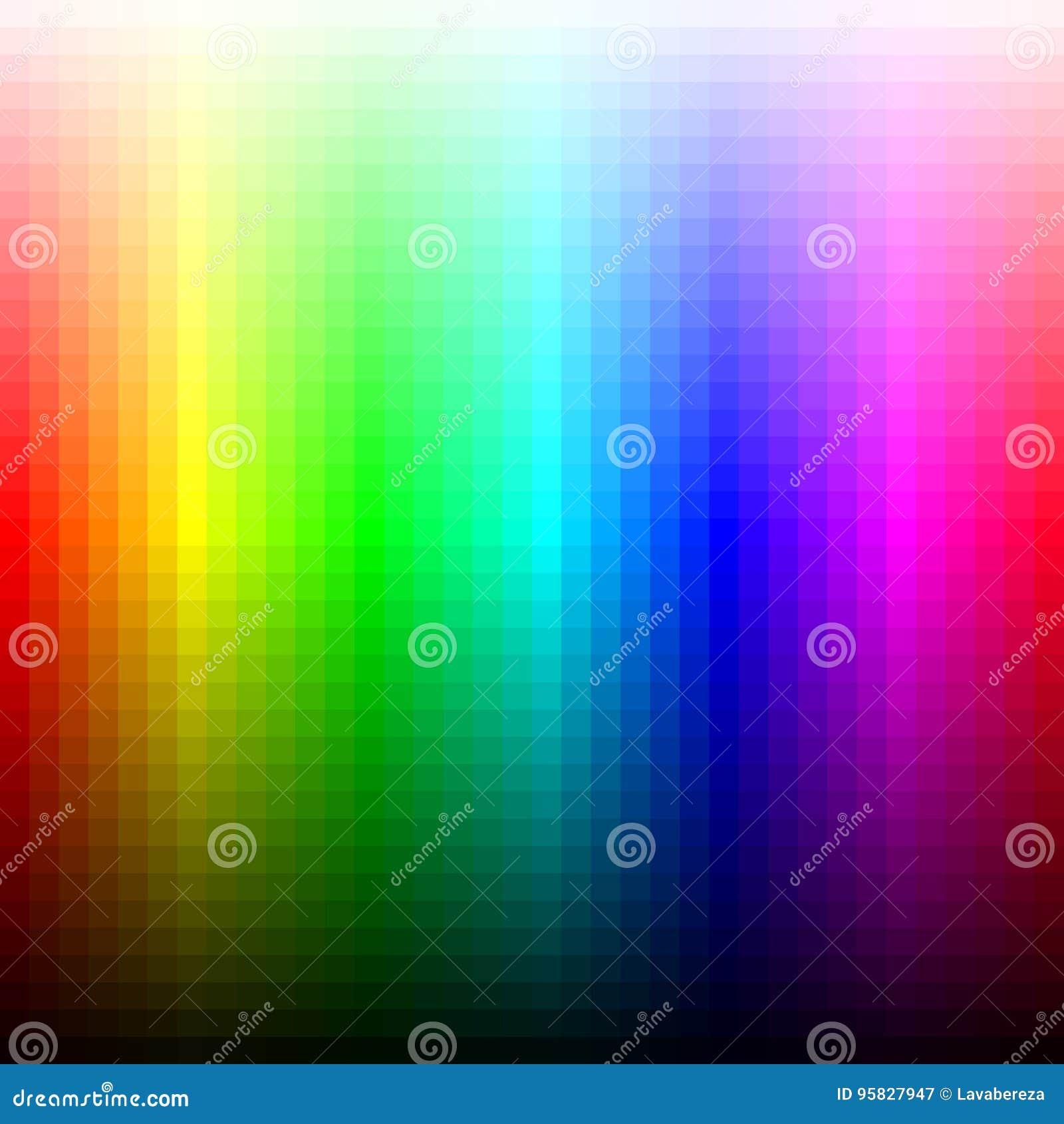 Koloru widma mozaiki paleta, odcień i świetlistość, wektor