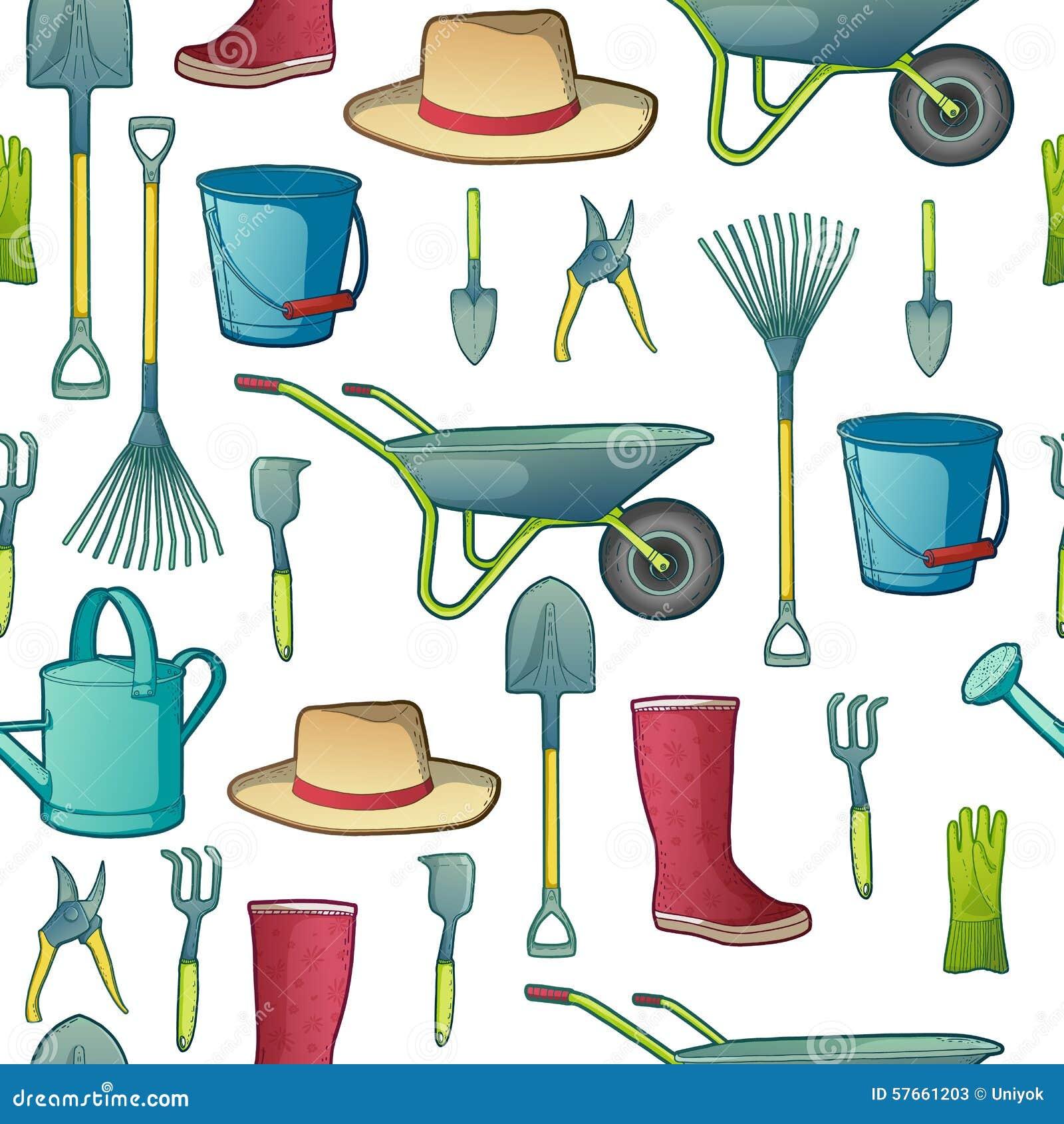 Koloru wzór z ogrodowymi narzędziami Instrumenty, kapelusz