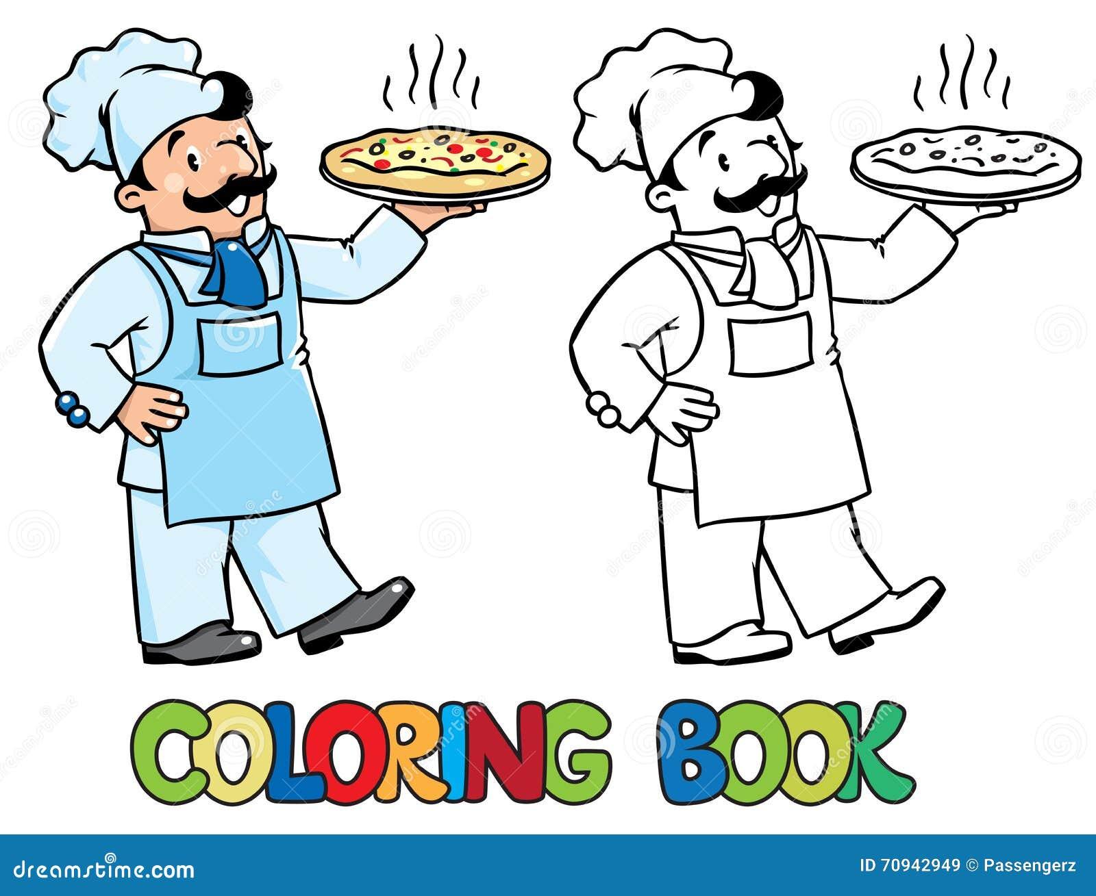 Kolorystyki książka śmieszny kucharz lub szef kuchni z pizzą