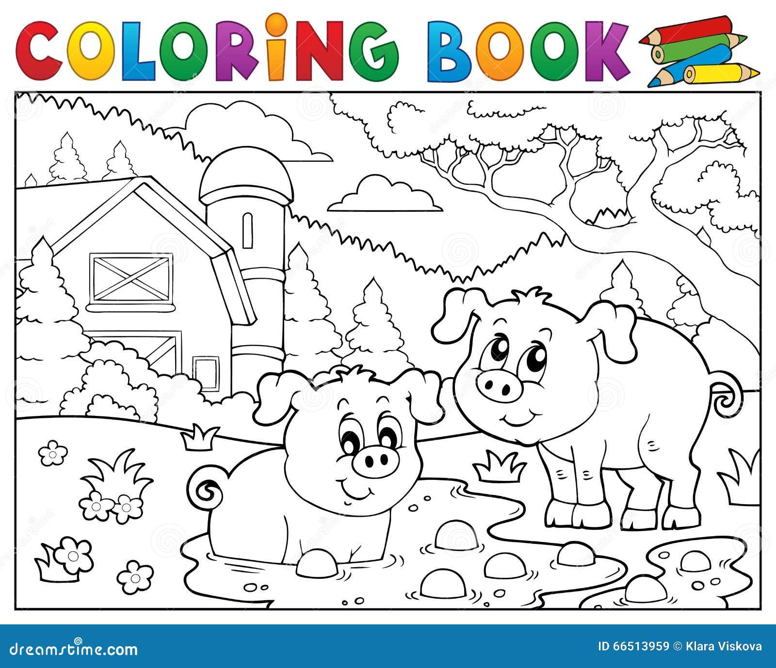 Kolorystyki książki dwa świnie blisko uprawiają ziemię
