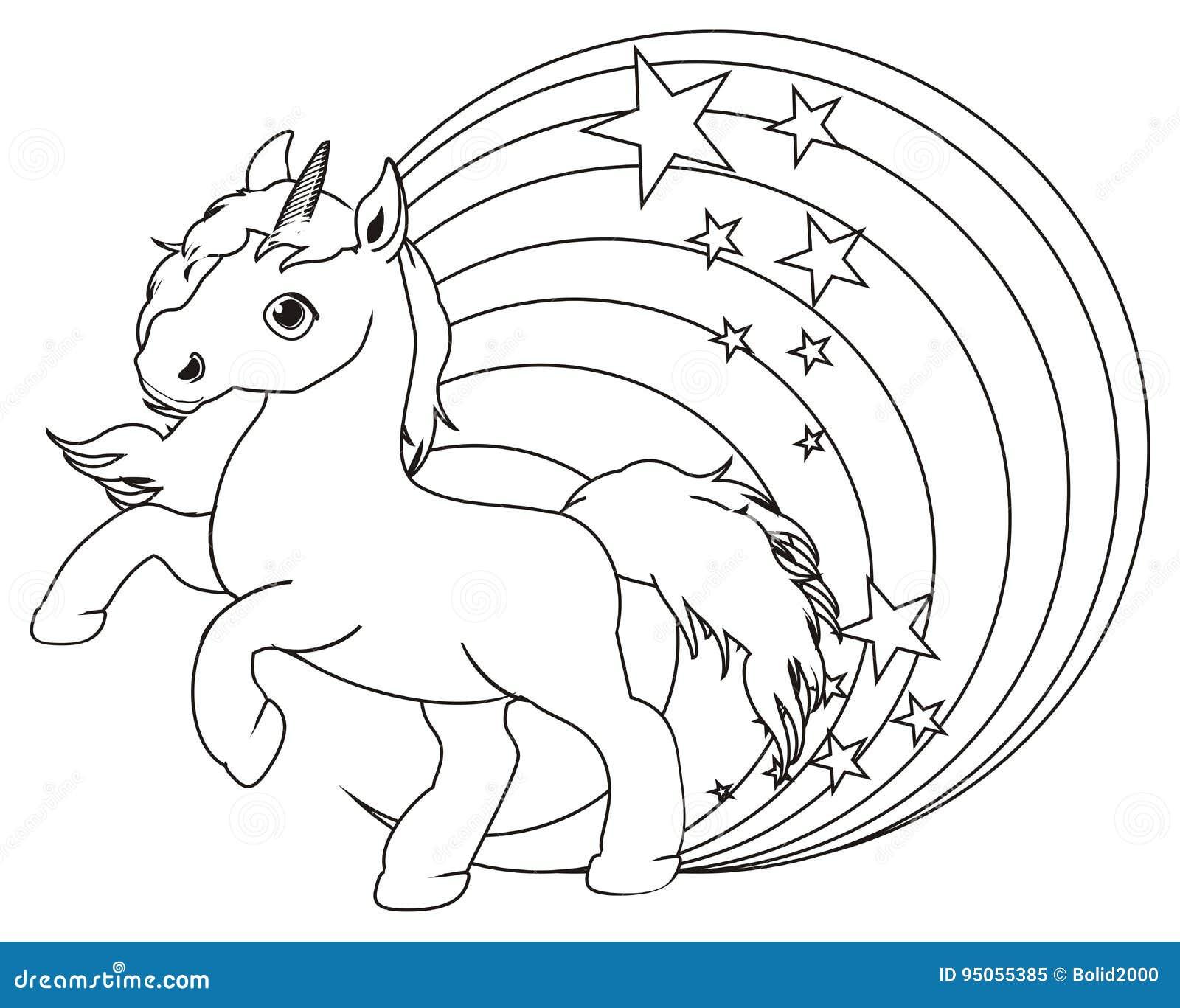 Kolorystyki Tecza I Jednorozec Ilustracji Ilustracja Zlozonej Z Kresk Zwierz 95055385