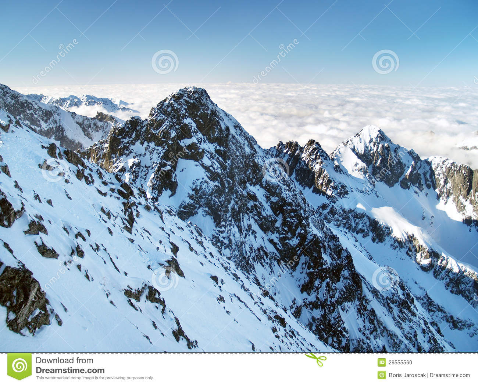 Kolovy peak (Kolovy stit) in High Tatras during winter