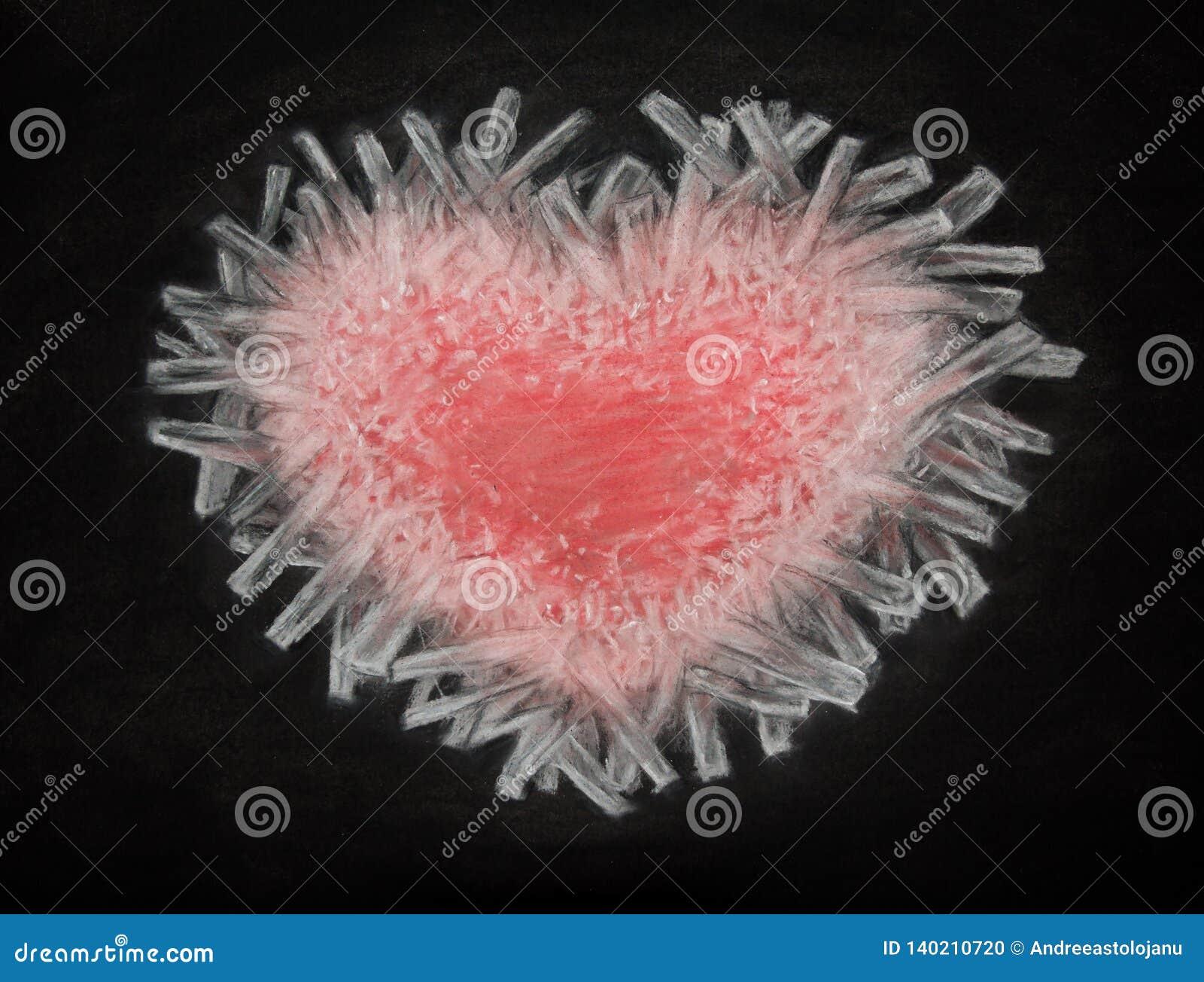 Kolteckning av djupfryst hjärta som isoleras på svart bakgrund, röd hjärta av is, bruten hjärta, förälskelse