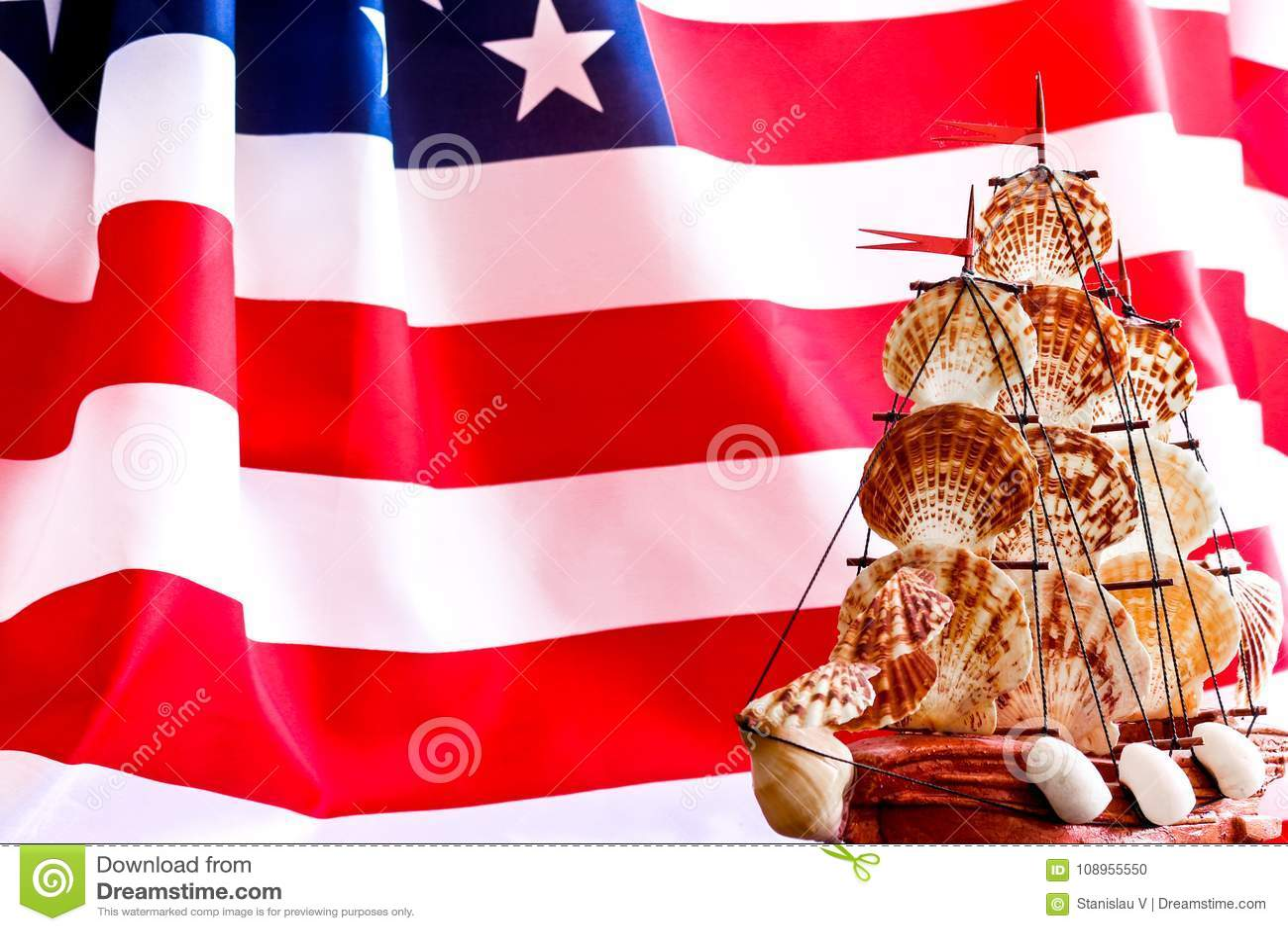 Kolumb dnia usa łódź i flaga 10 Październik w Stany Zjednoczone