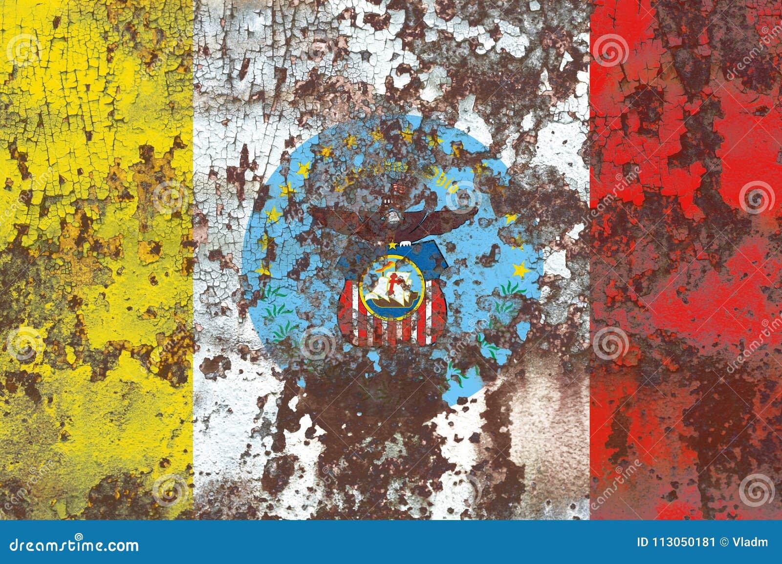 Kolumb miasta dymu flaga, Ohio stan, Stany Zjednoczone Ameryka