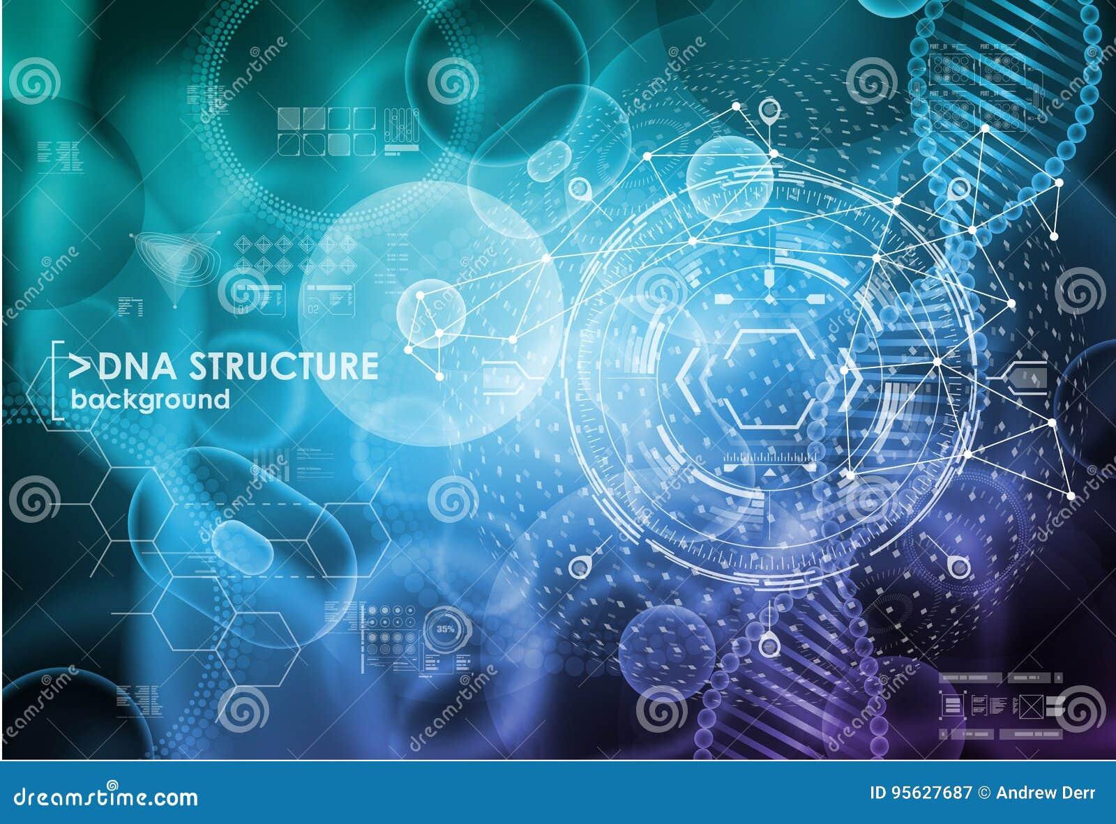 Komórki i DNA tło z interfejsów elementami HUD UI dla medycznego app Cząsteczkowy badanie