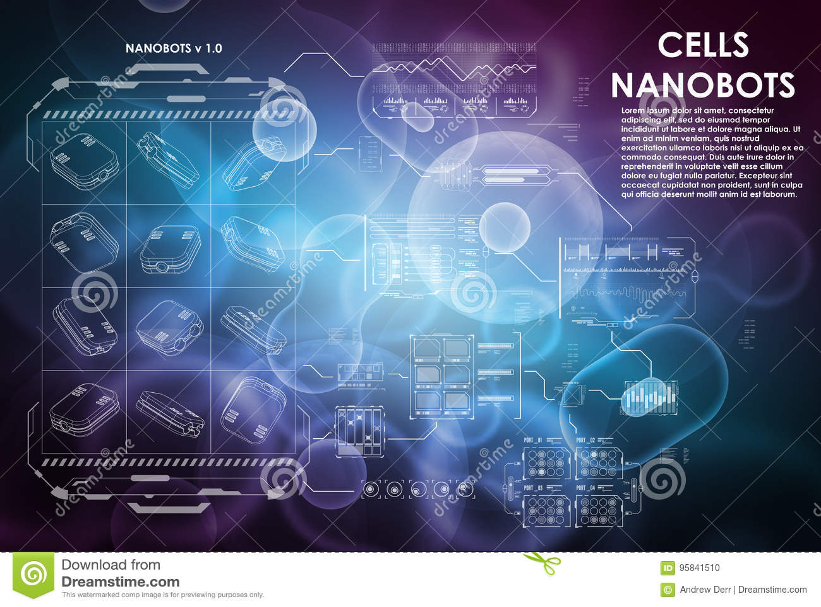 Komórki tło z futurystycznymi interfejsów elementami HUD UI dla medycznego app Futurystyczny interfejs użytkownika cząsteczkowy
