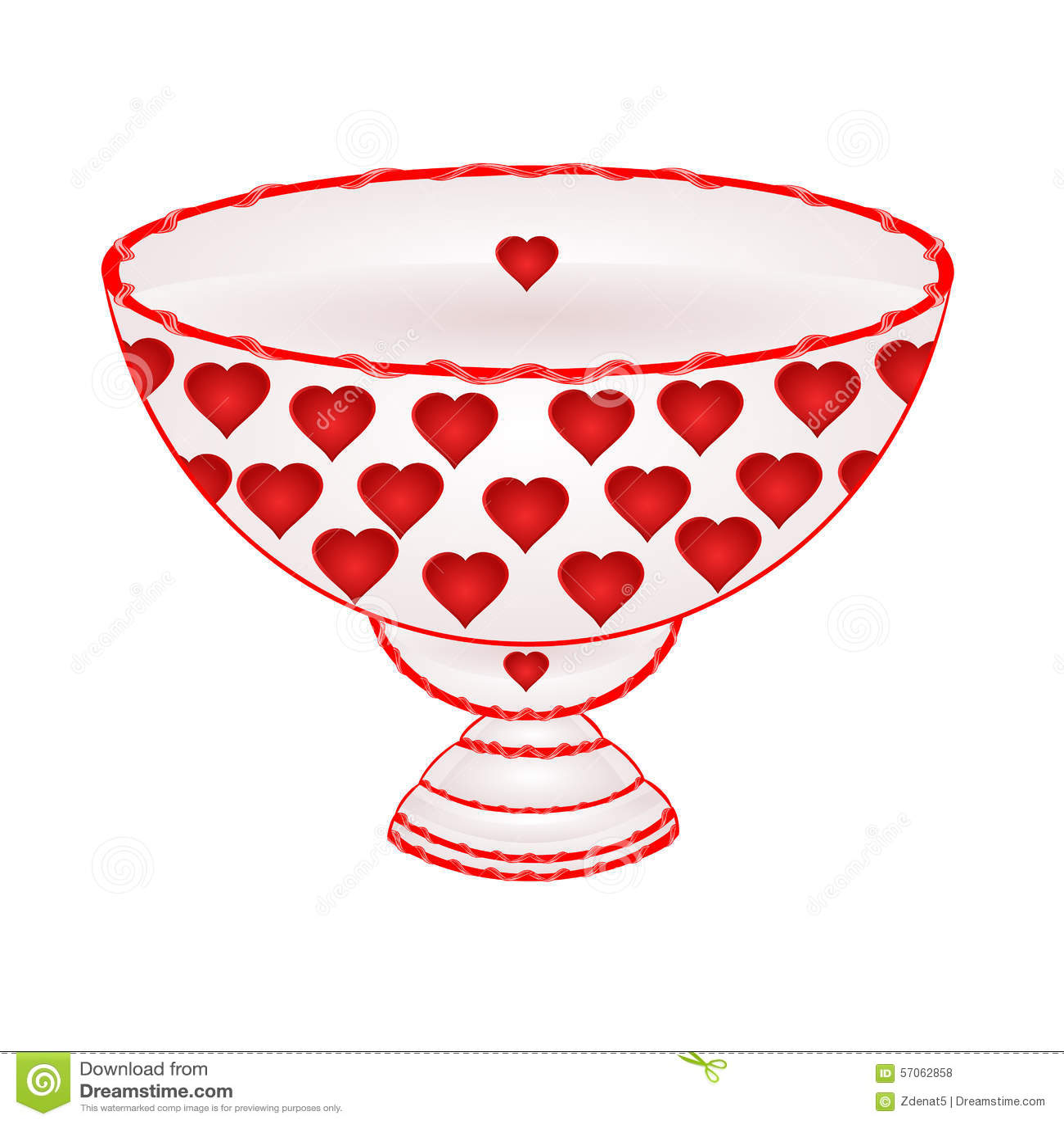 Kom fruit met rode hartenvector