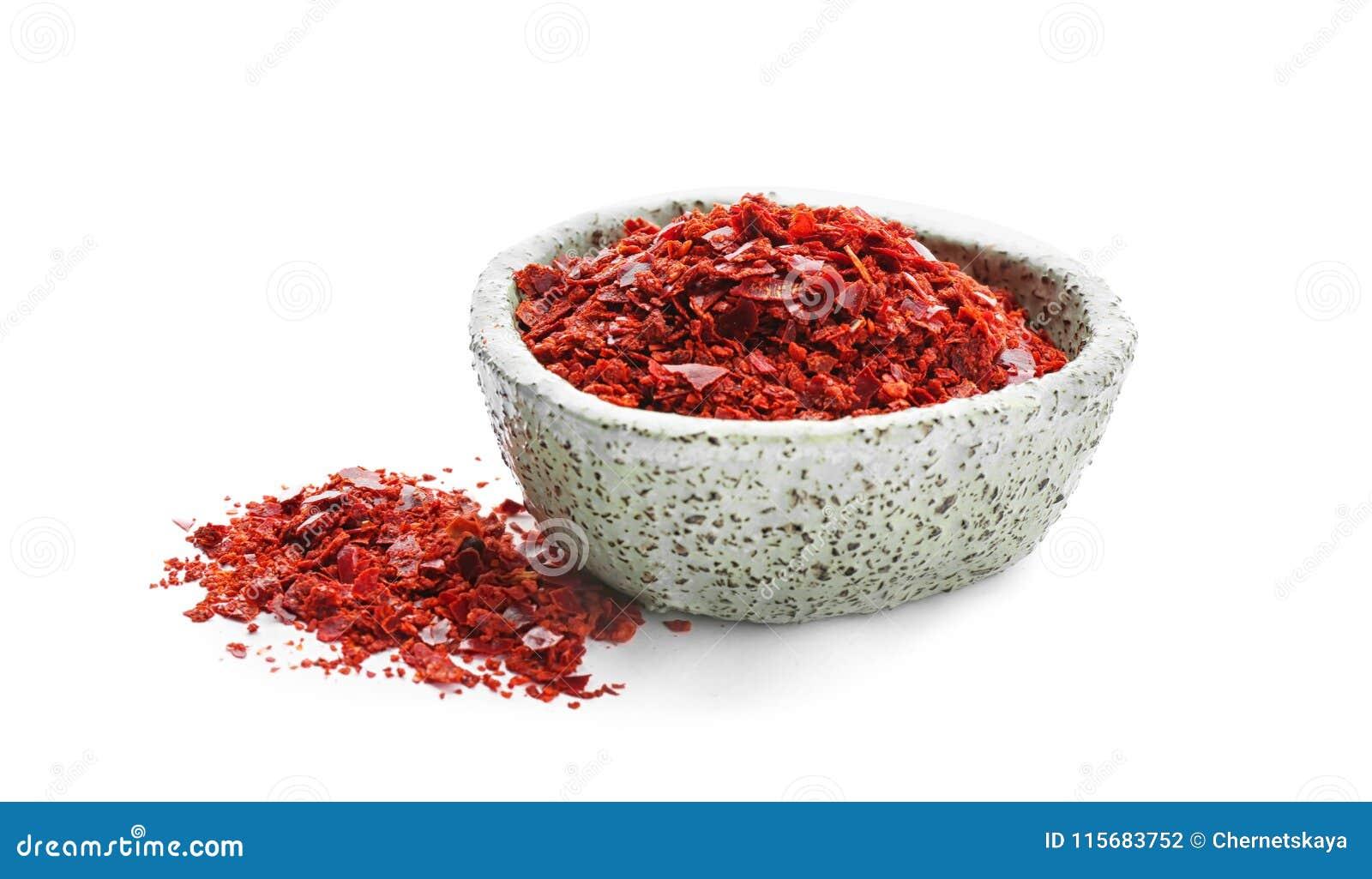 Kom met de vlokken van de Spaanse peperpeper
