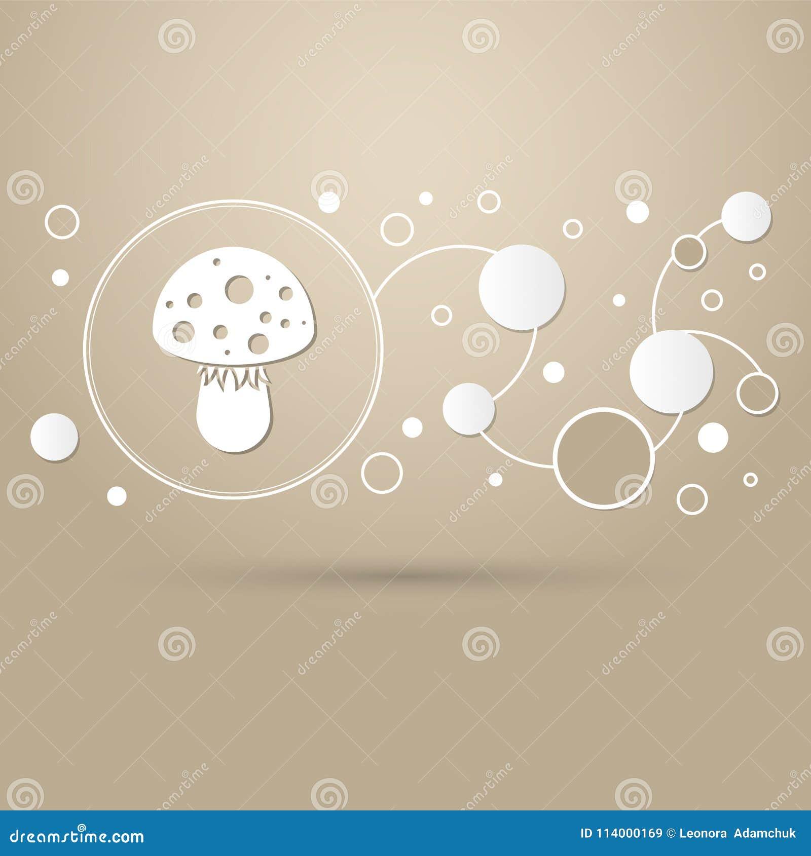 Komarnicy bedłki pieczarki ikona na brown tle z eleganckim stylem i nowożytnym projektem infographic