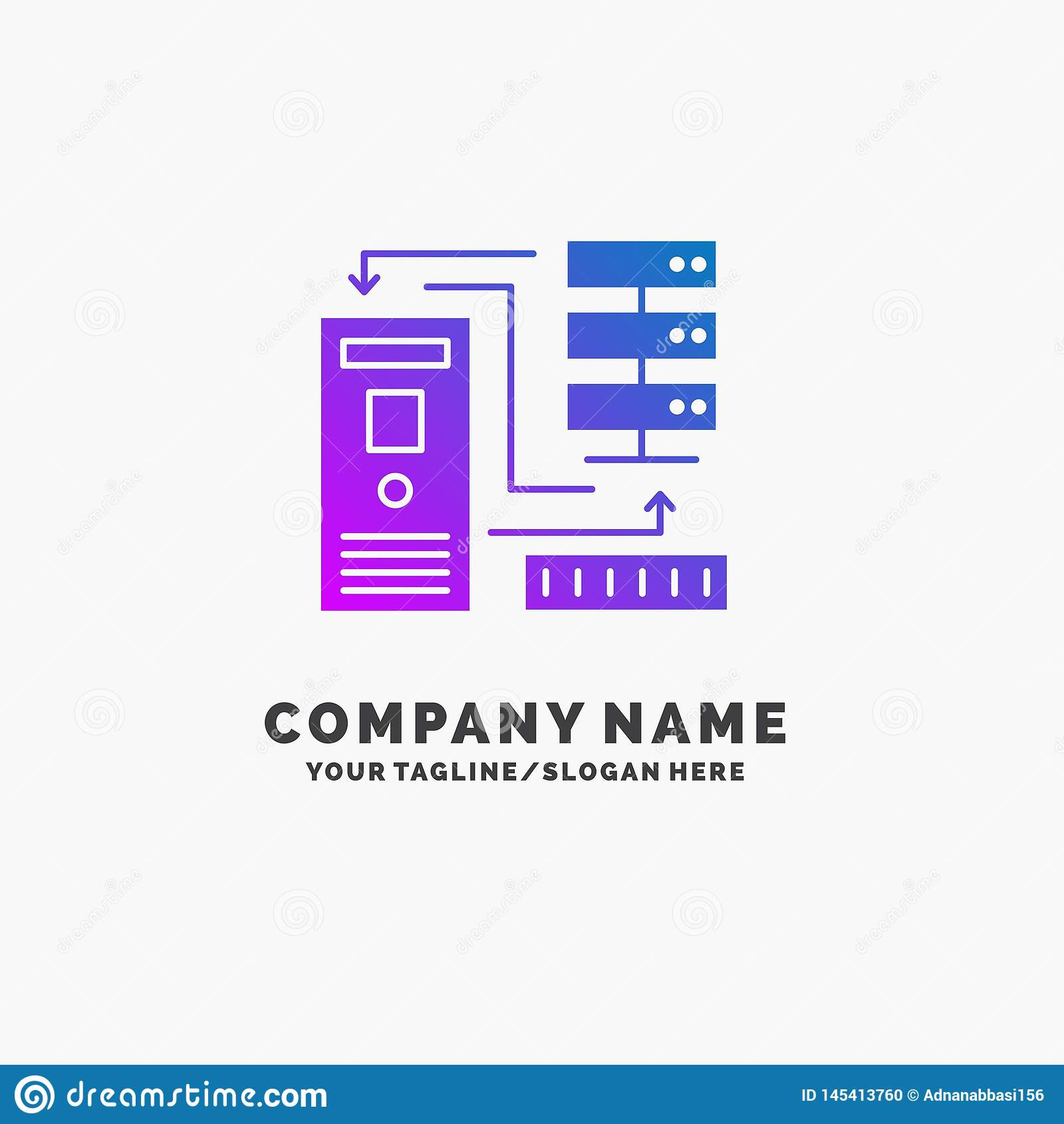 Kombinacja, dane, baza danych, elektroniczny, ewidencyjny Purpurowy Biznesowy logo szablon, Miejsce dla Tagline